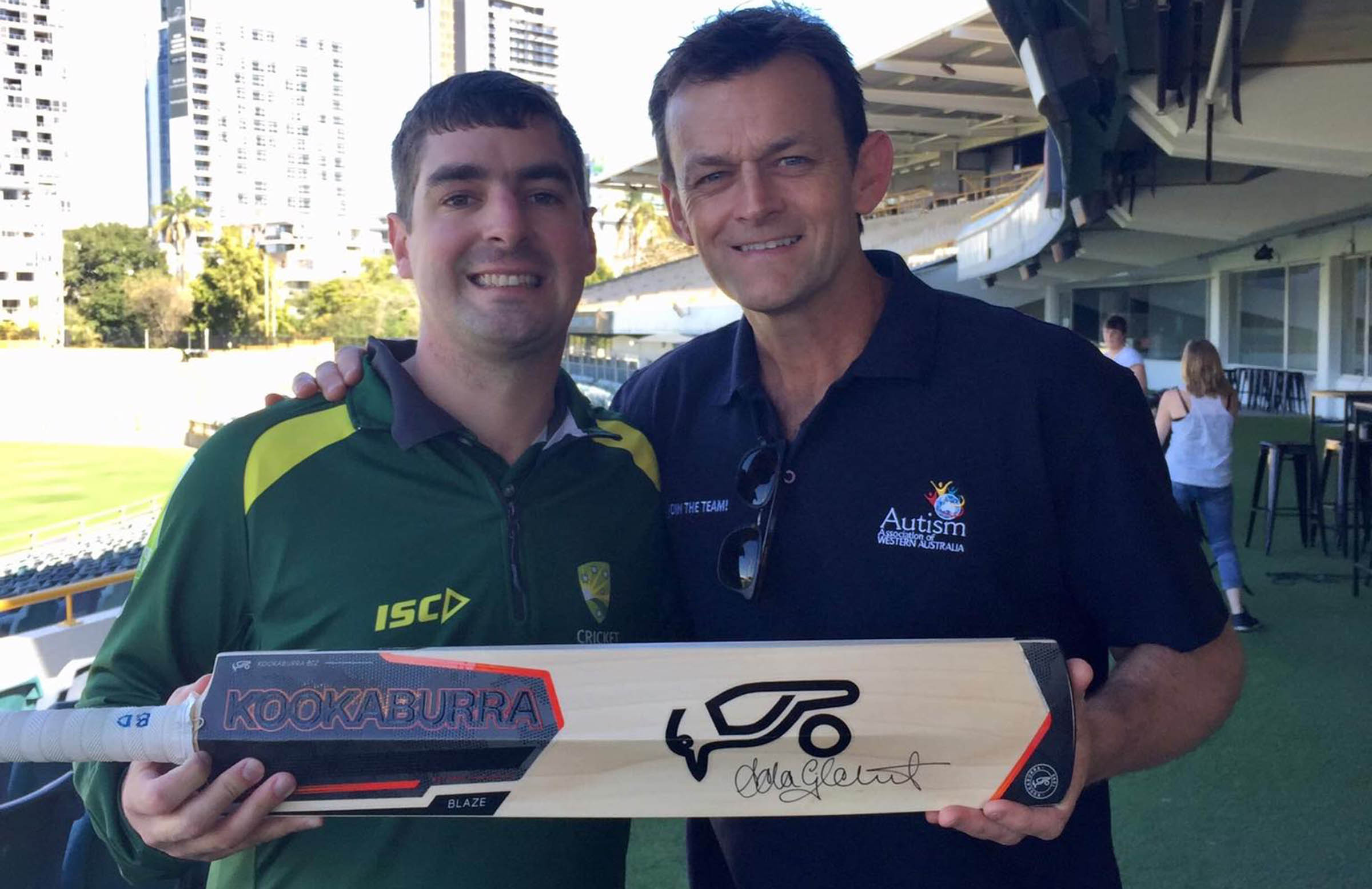 Boyd with Adam Gilchrist, an ambassador for Autism WA