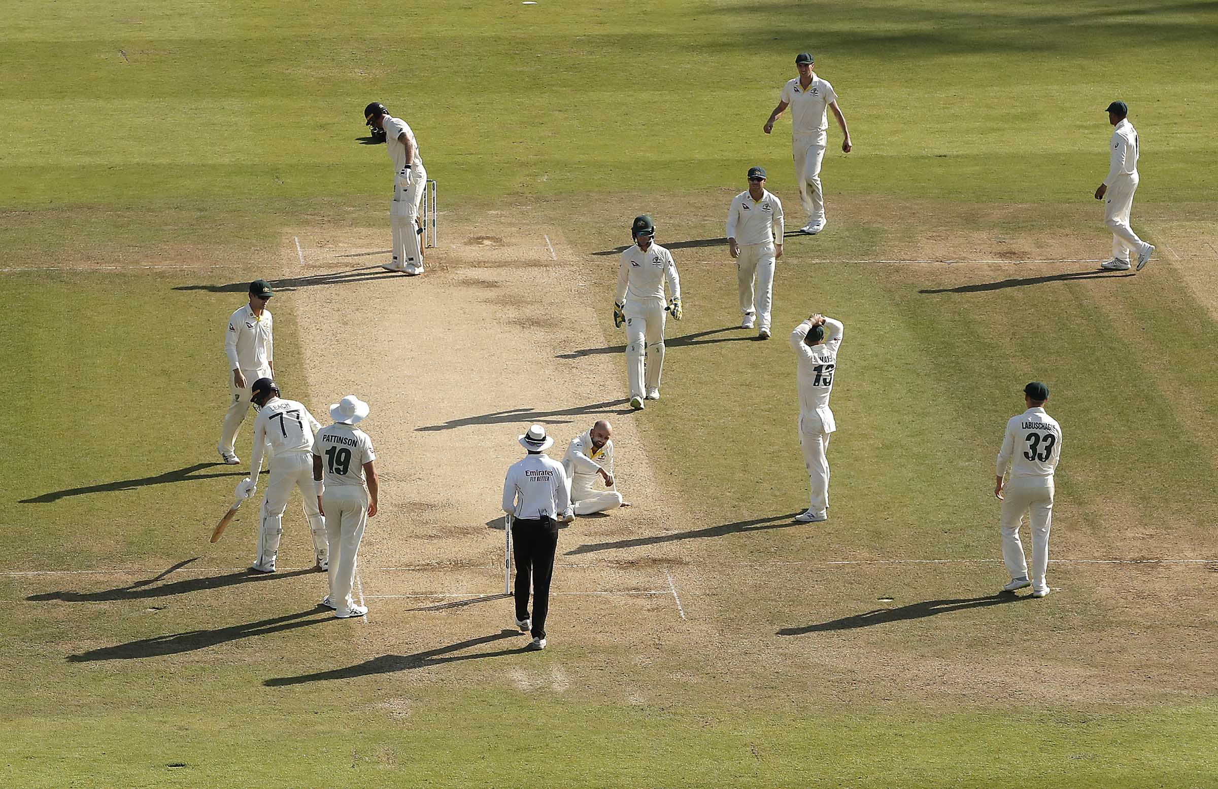 A forlorn Lyon after Stokes was given not out lbw // Getty