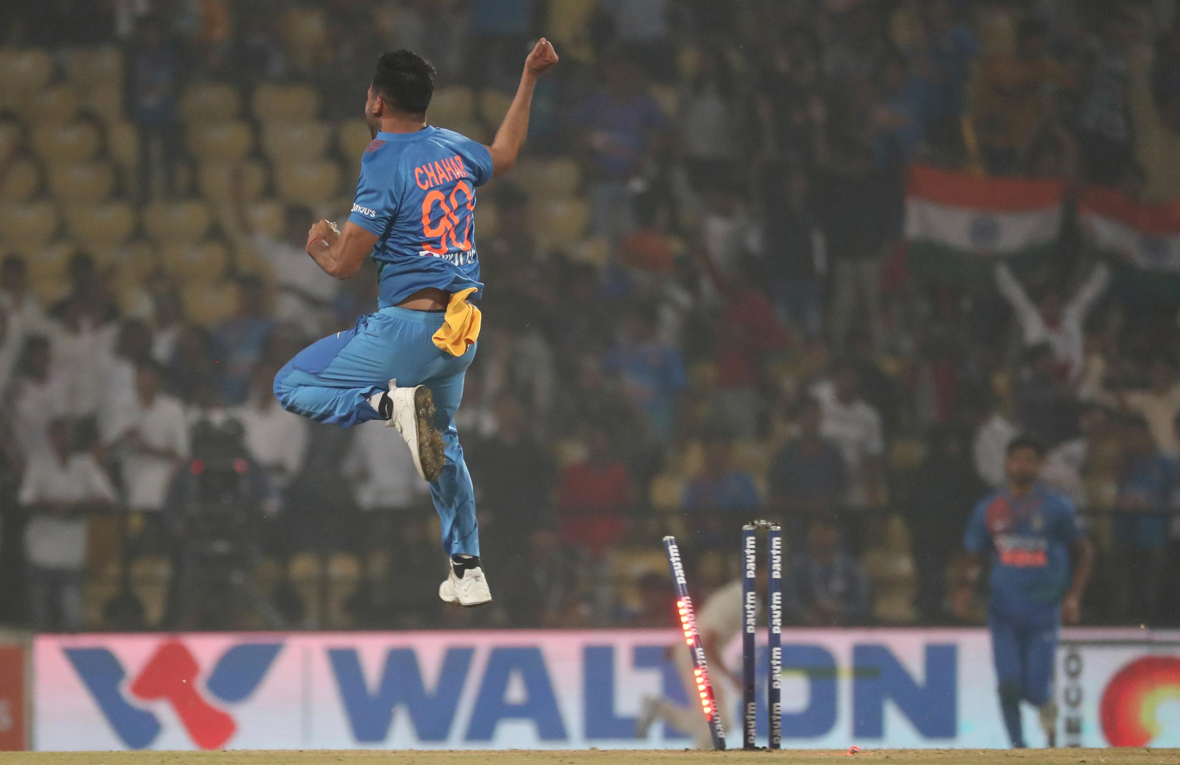 Chahar celebrates as India sealed the series 2-1 // AAP