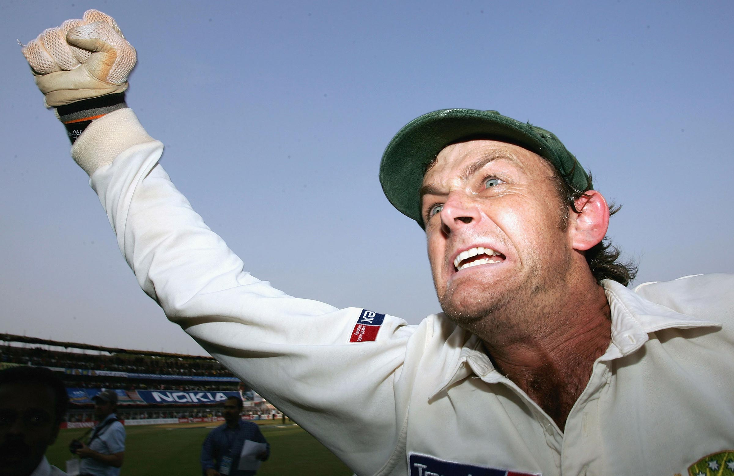 Gilchrist celebrates Australia's landmark 2004 win in India // Getty
