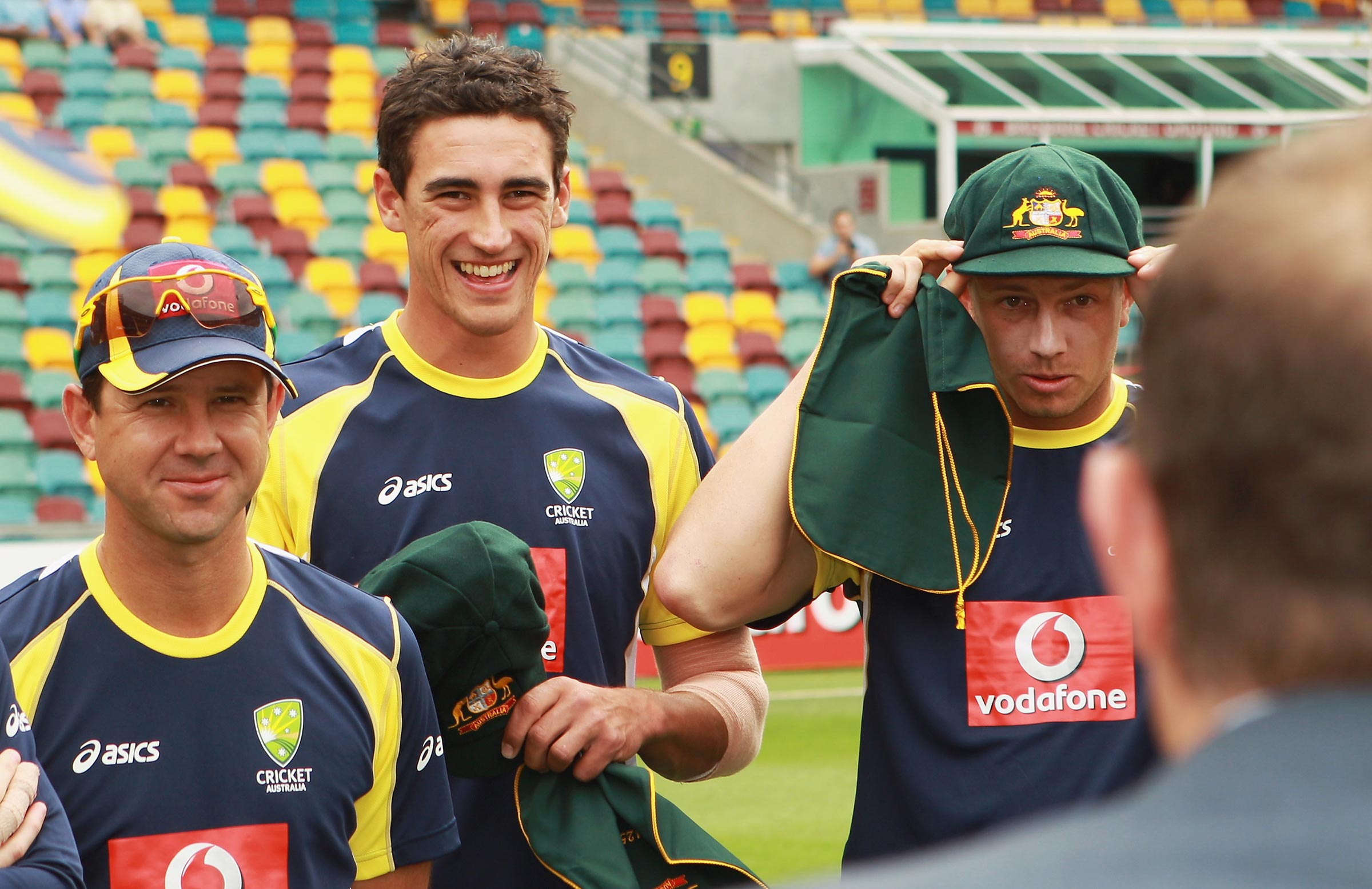 Ponting, Starc and Pattinson at the Gabba in 2011 // Getty