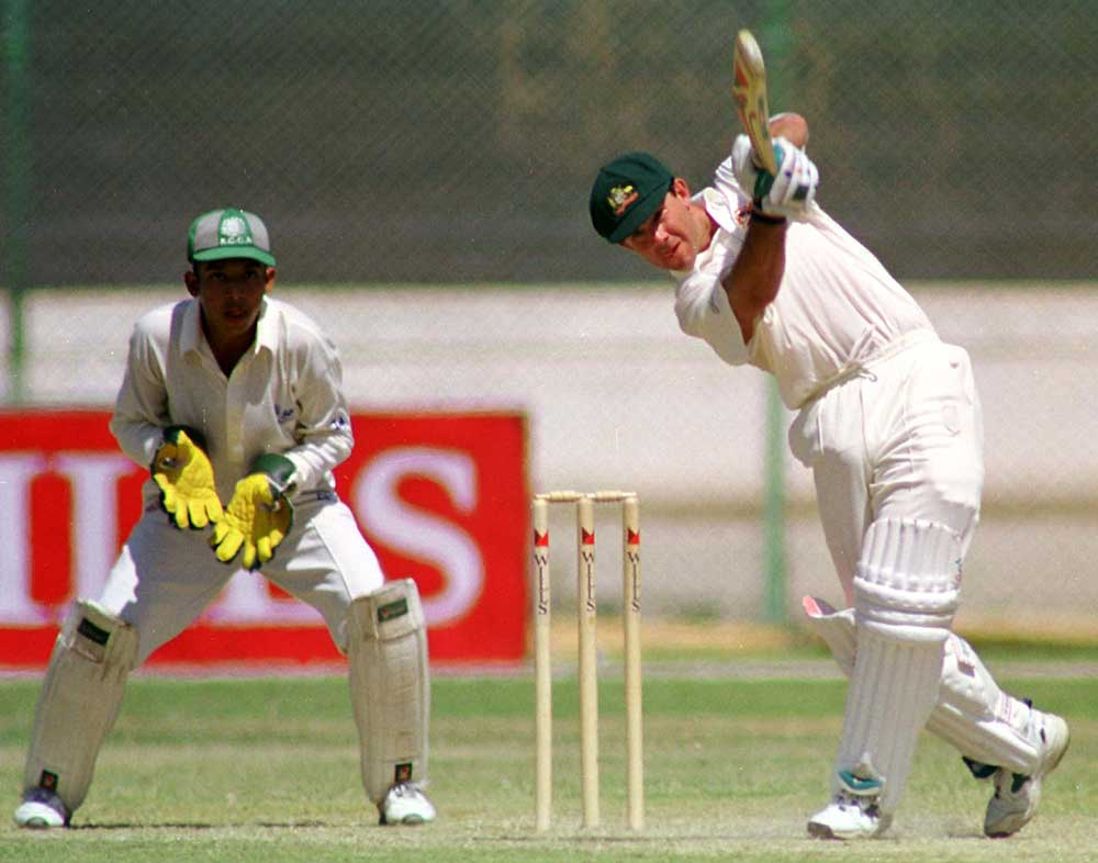 Ricky Ponting hits out during a 1998 tour match // AFP