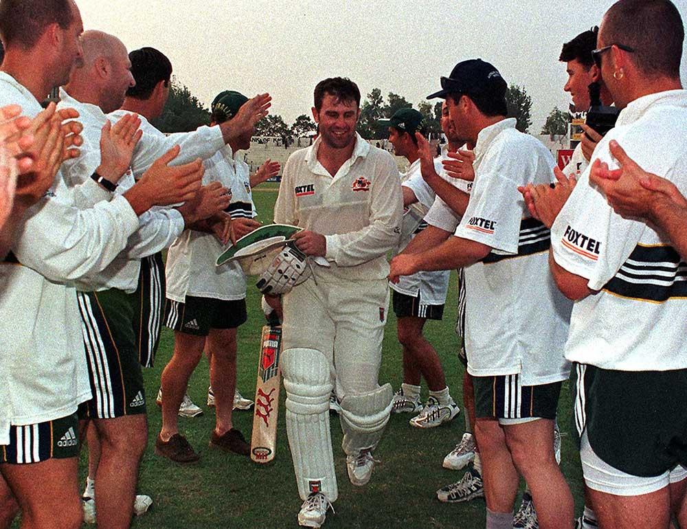 Mark Taylor hit 334 for Australia in Peshawar in 1998 // AFP