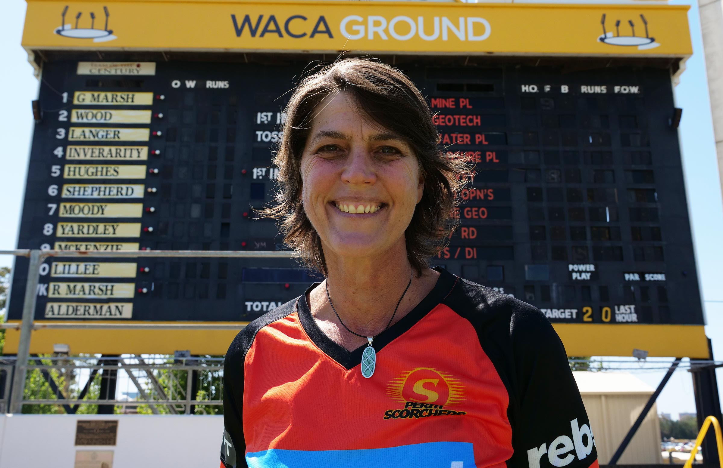 Goss in front of the famous WACA scoreboard // Getty