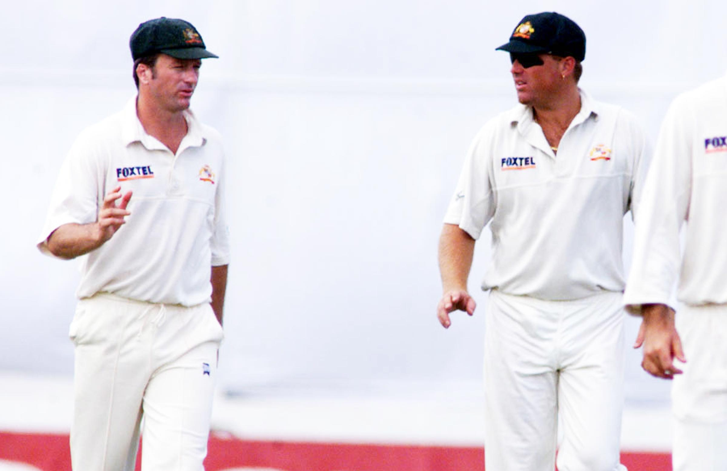 Steve Waugh (left) and Warne during a Test in 1999 // Getty