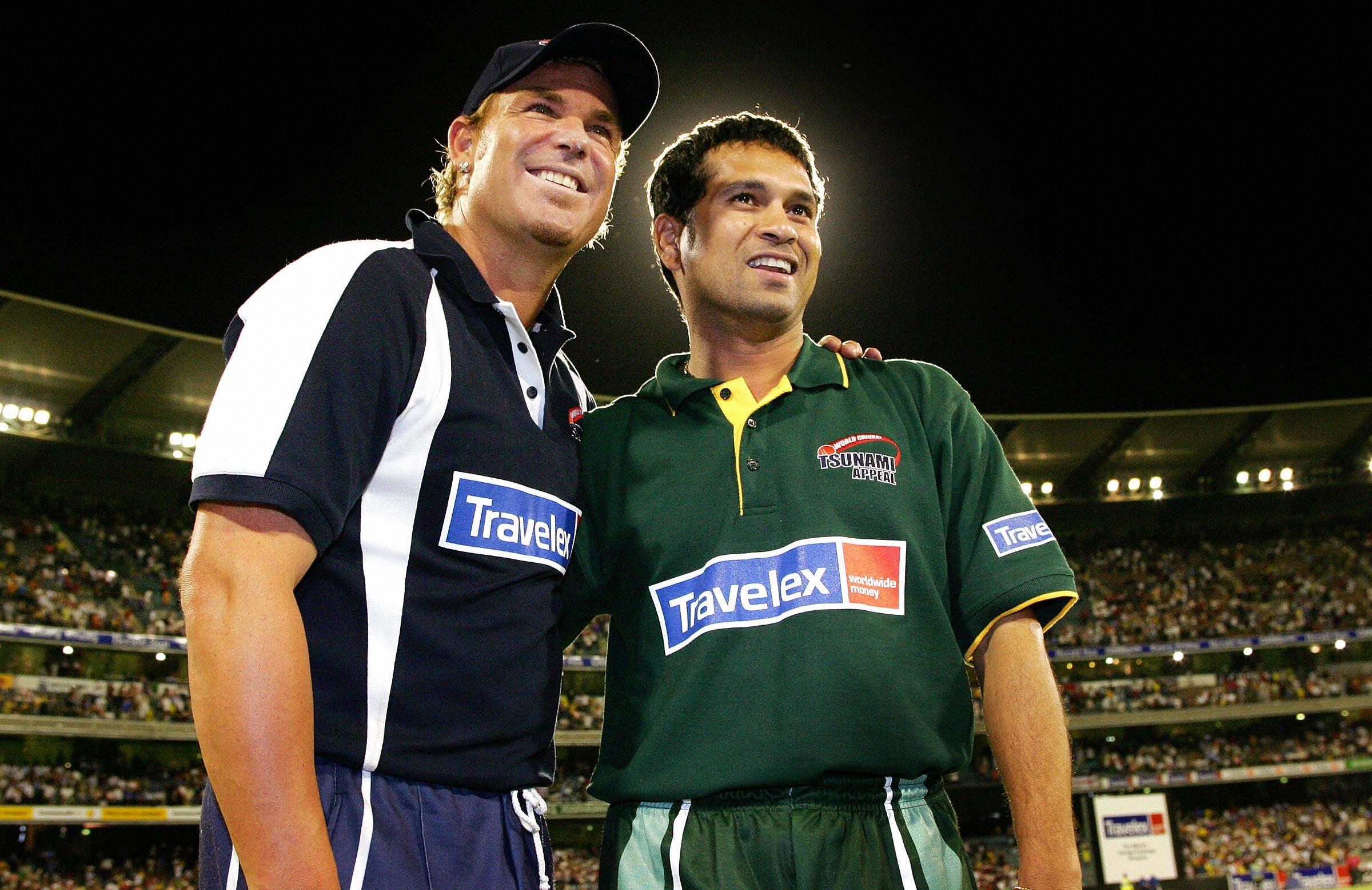 Warne and Tendulkar at a charity match after the 2004 tsunami // Getty