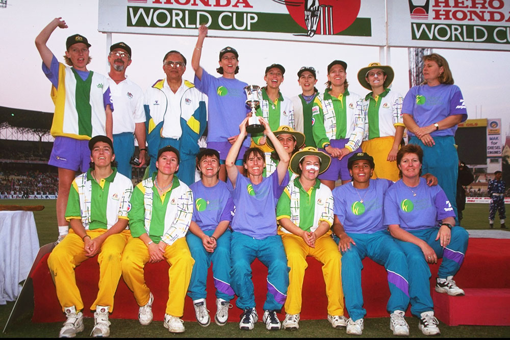 Fitzpatrick (top left) alongside her Australian teammates after winning the 1997 Cricket World Cup in India
