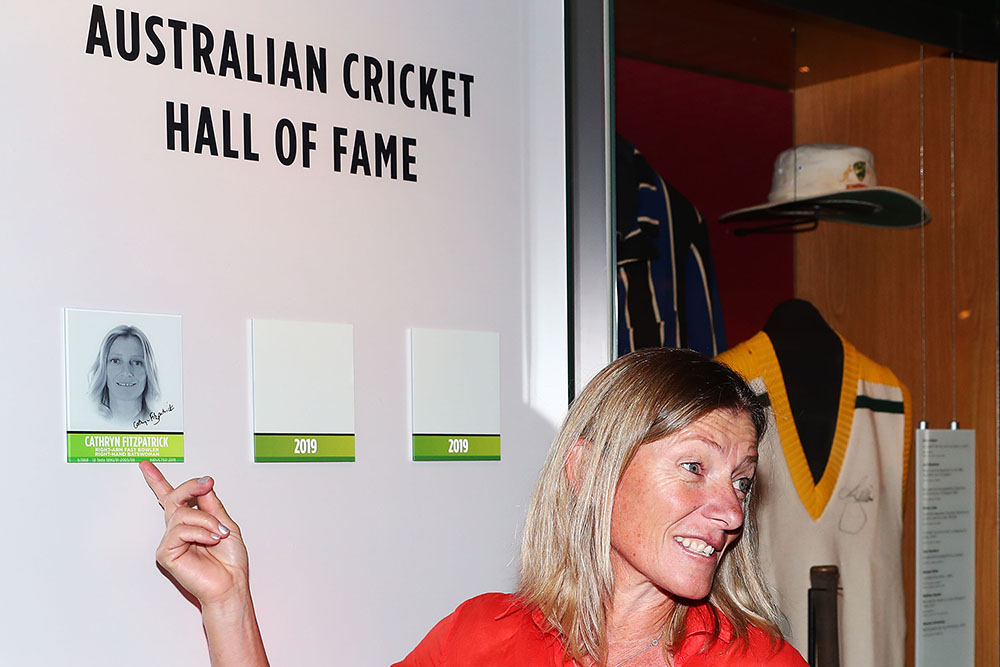 Fitzpatrick alongside her Australia Cricket Hall of Fame plaque at the MCG // Getty