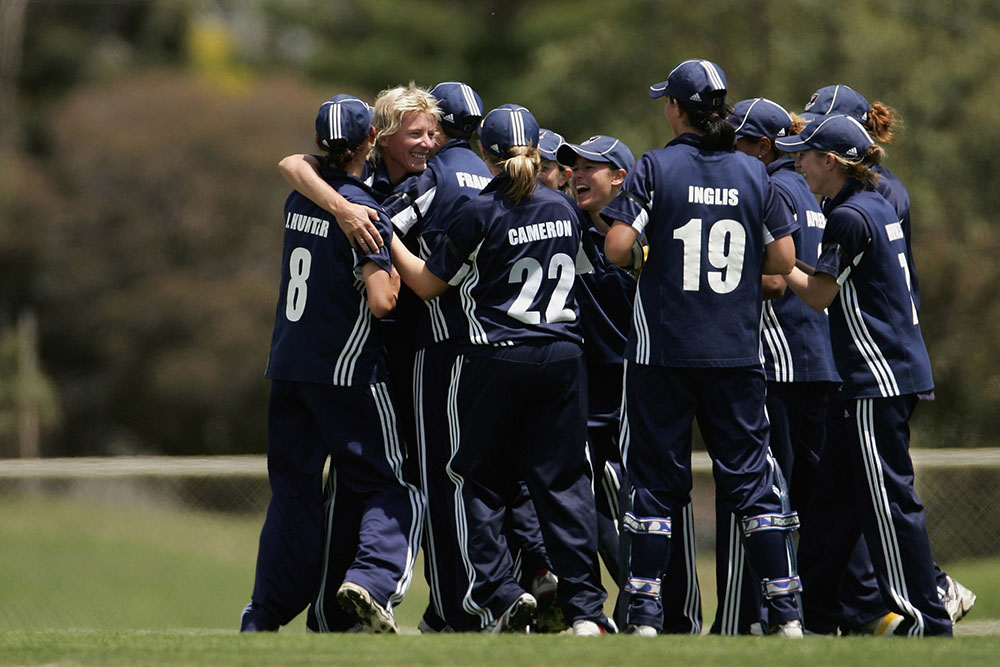 Fitzpatrick celebrates a wicket with the Vic Spirit in 2007