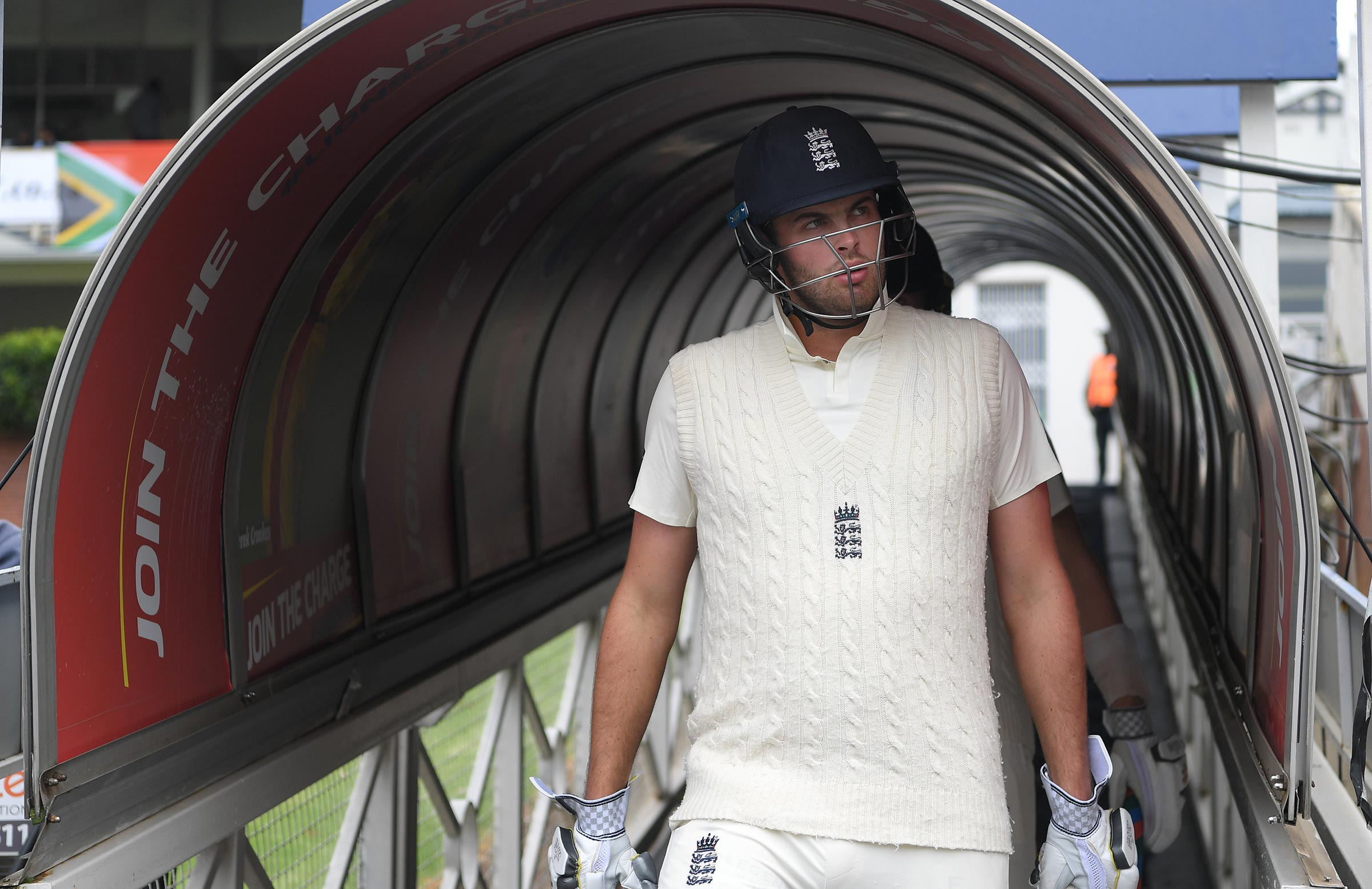 Sibley walks out of the player's tunnel at the Wanderers // Getty