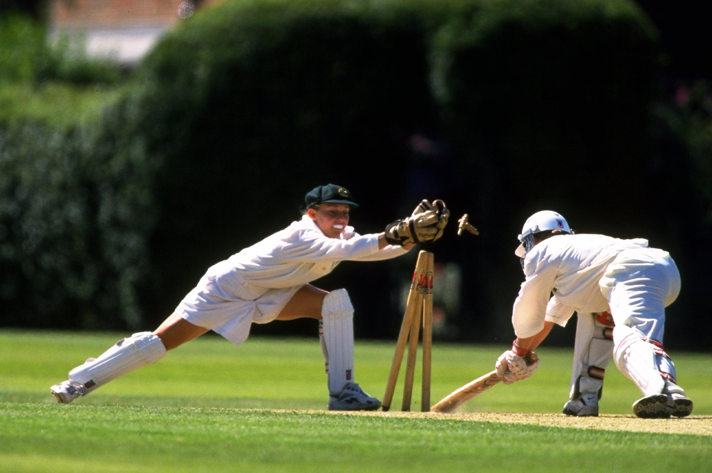 Price completes a stumping during an Ashes Test in August 1998 // Getty