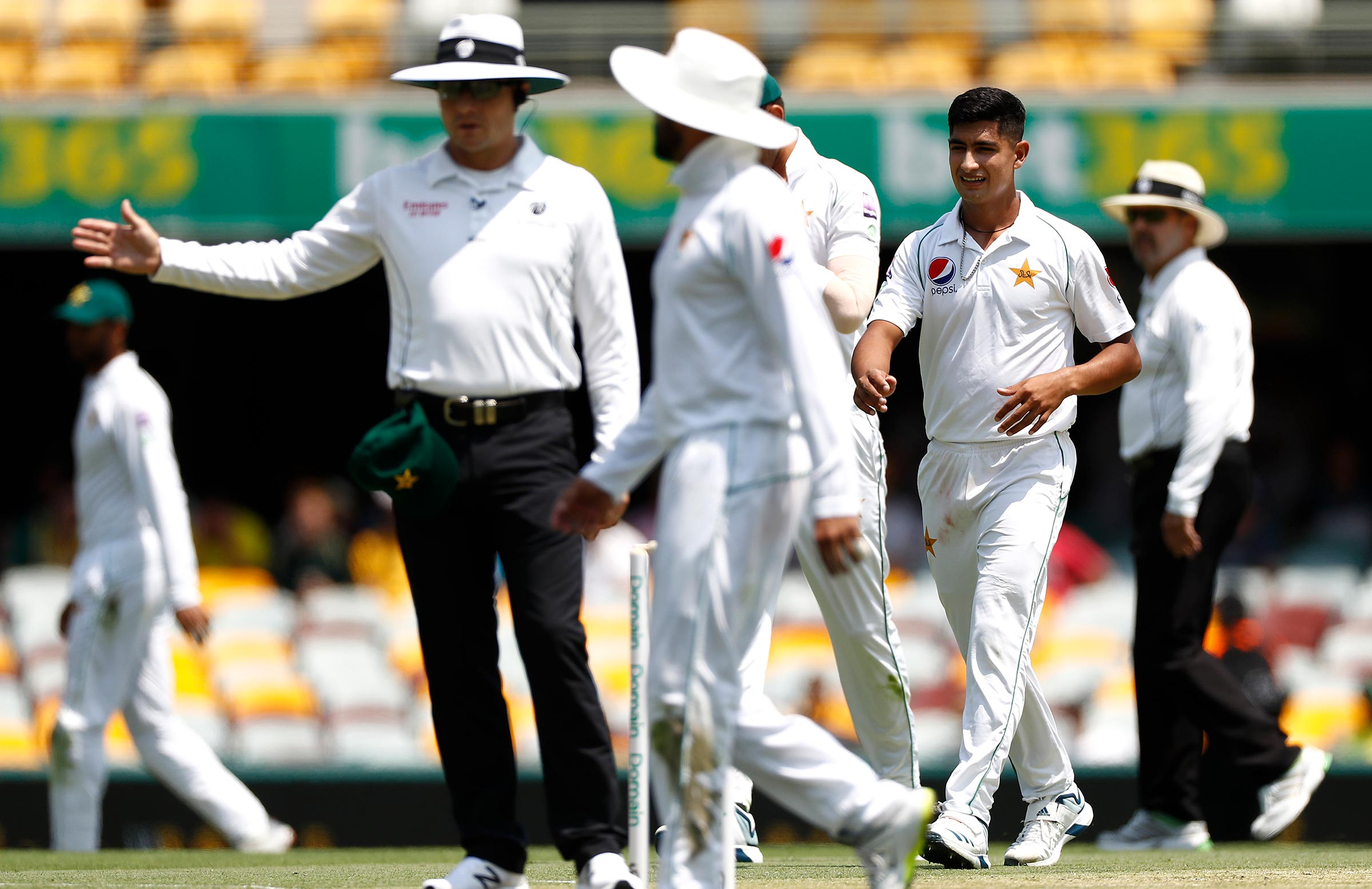 Naseem was cost a first Test wicket by a no-ball at the Gabba // Getty