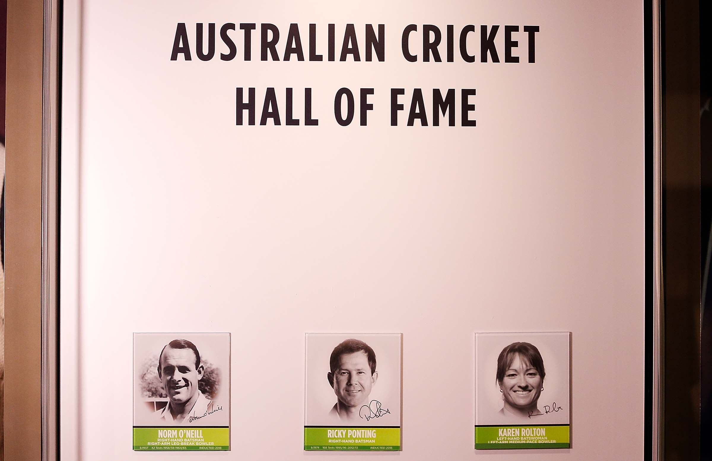 With Norm O'Neill and Ricky Ponting in the Australian Cricket Hall of Fame // Getty