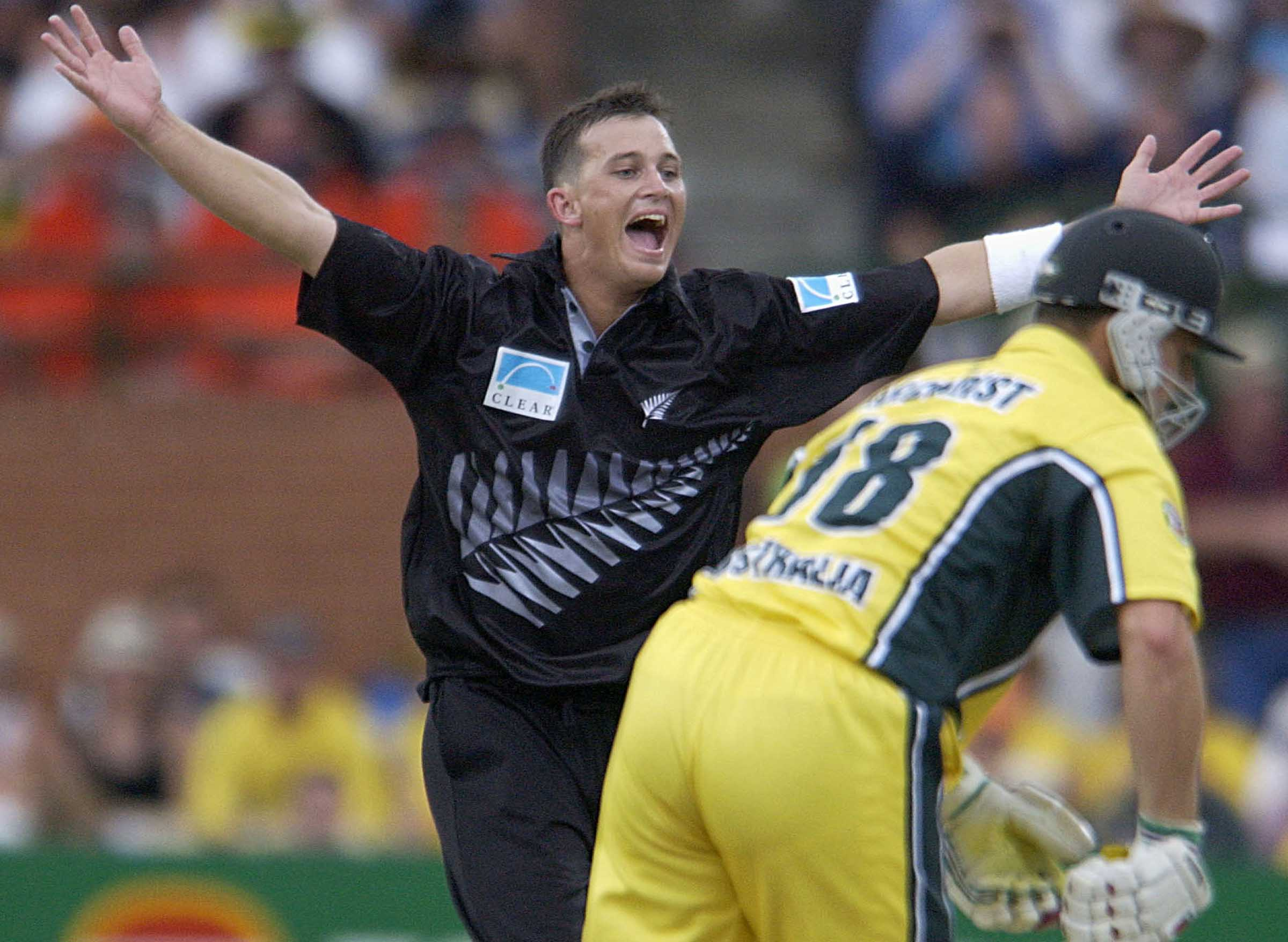 A young Shane Bond celebrates another Aussie wicket // Getty