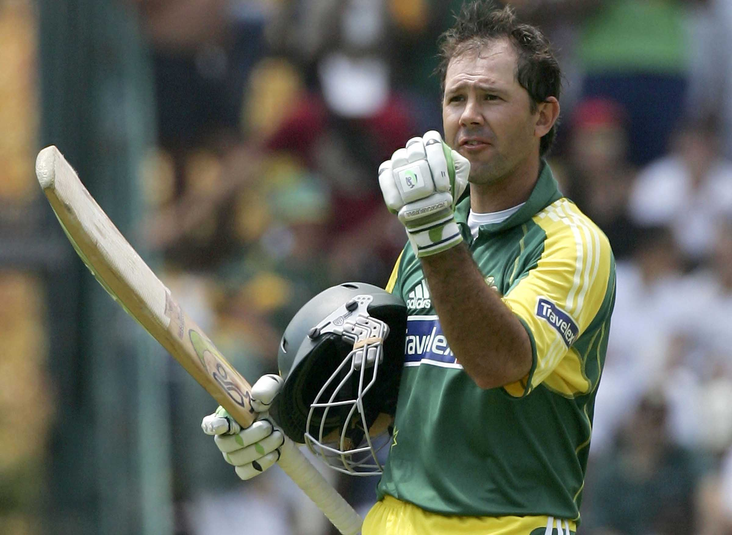 Ponting pumps his fist after reaching a spectacular hundred // Getty