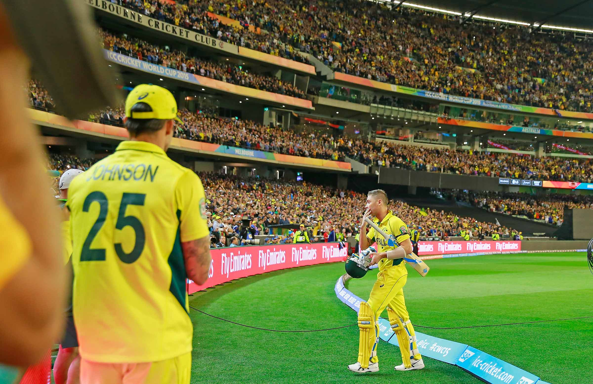 Clarke walks off the MCG after his final ODI innings // Getty