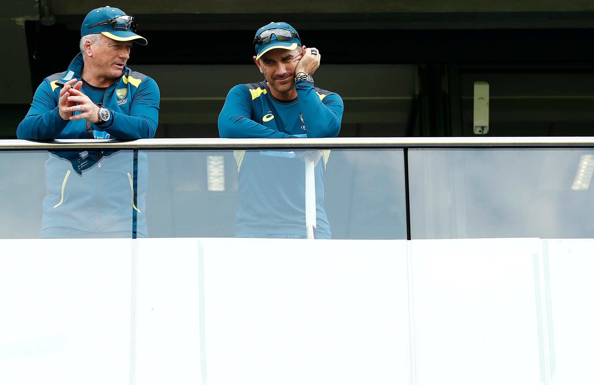 Langer and Waugh during the Ashes last year /// Getty