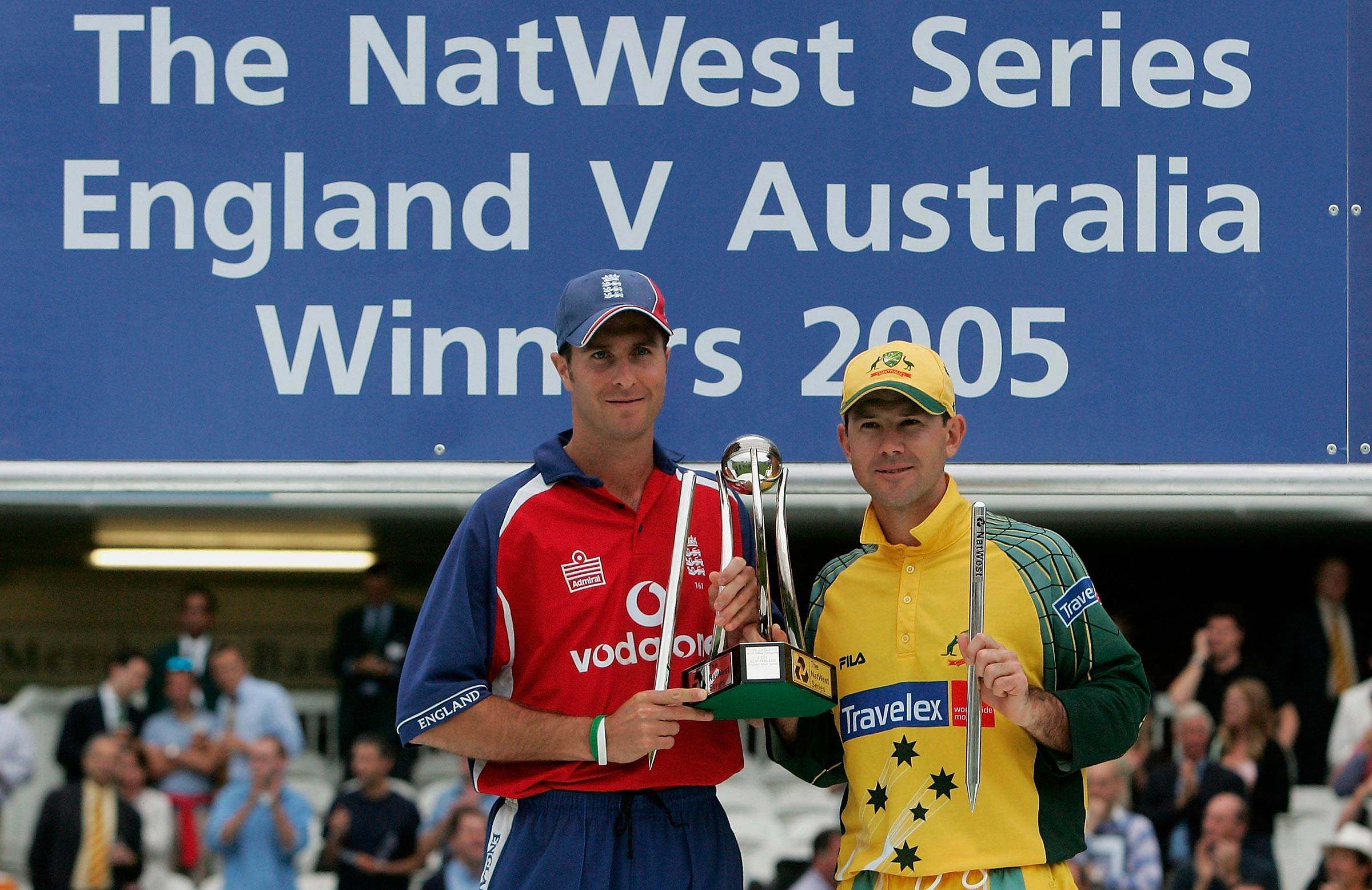 Vaughan and Ponting, co-winners of the 2005 NatWest Trophy // Getty