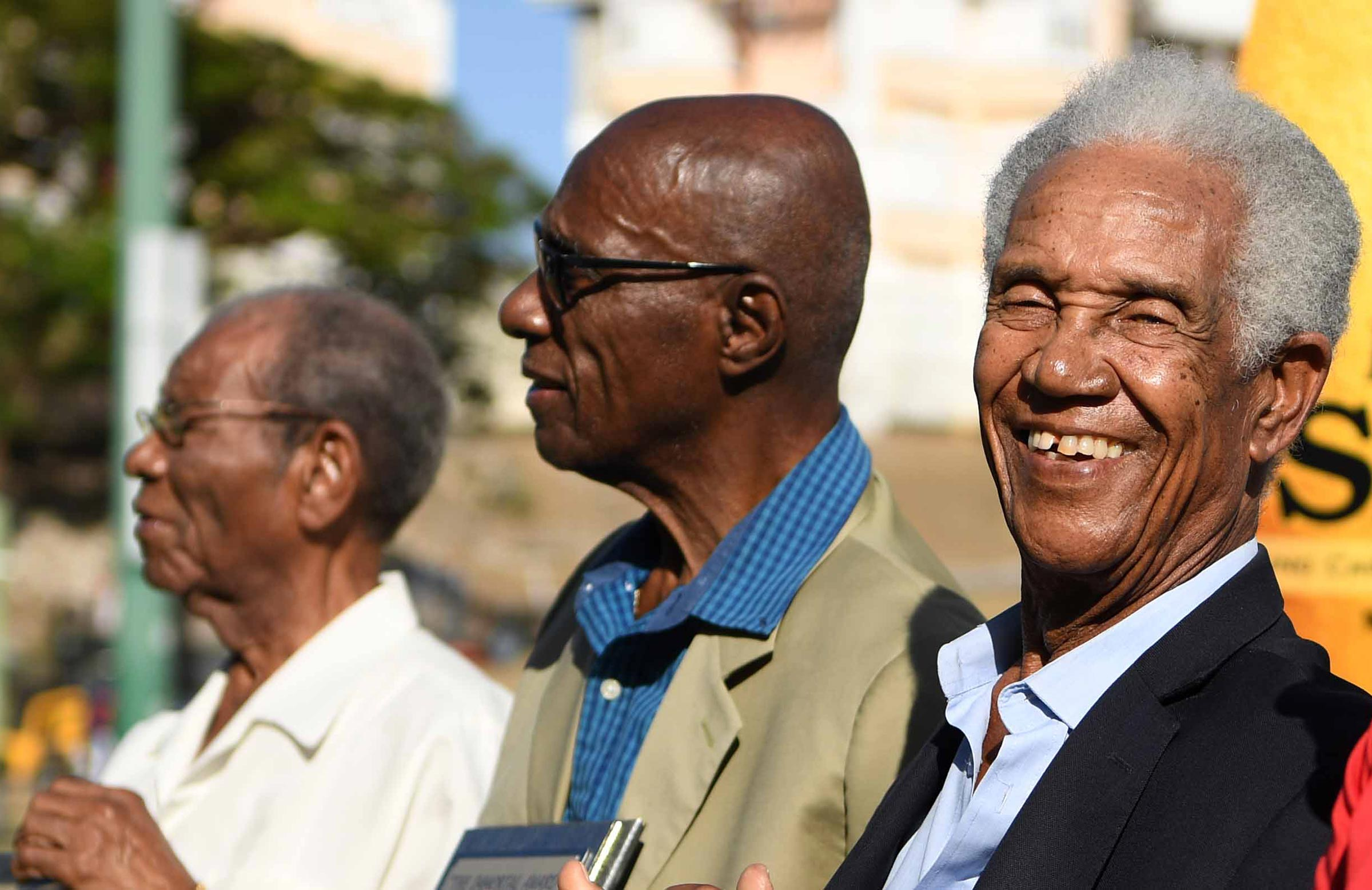 Weekes (left) with Sir Wes Hall and Sir Garfield Sobers last year // Getty
