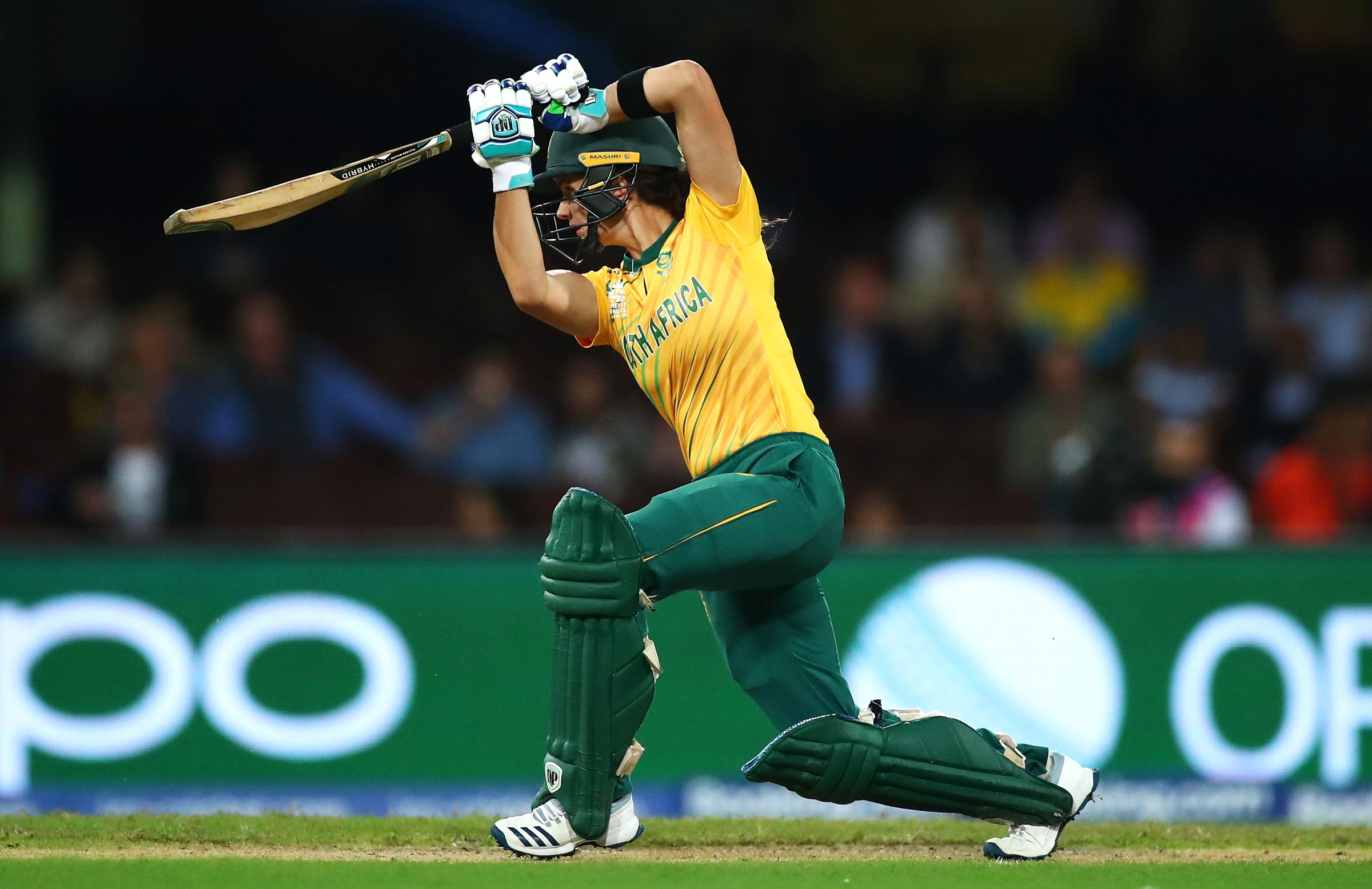 Laura Wolvaardt in full flight at the T20 World Cup // Getty
