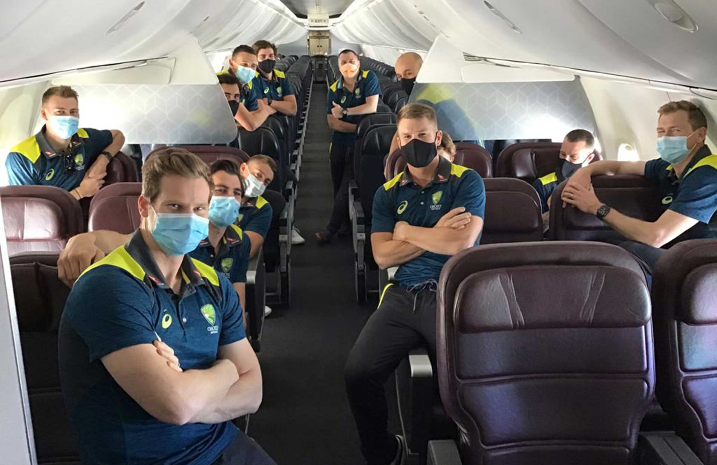Australia on board their flight to the United Kingdom // Supplied