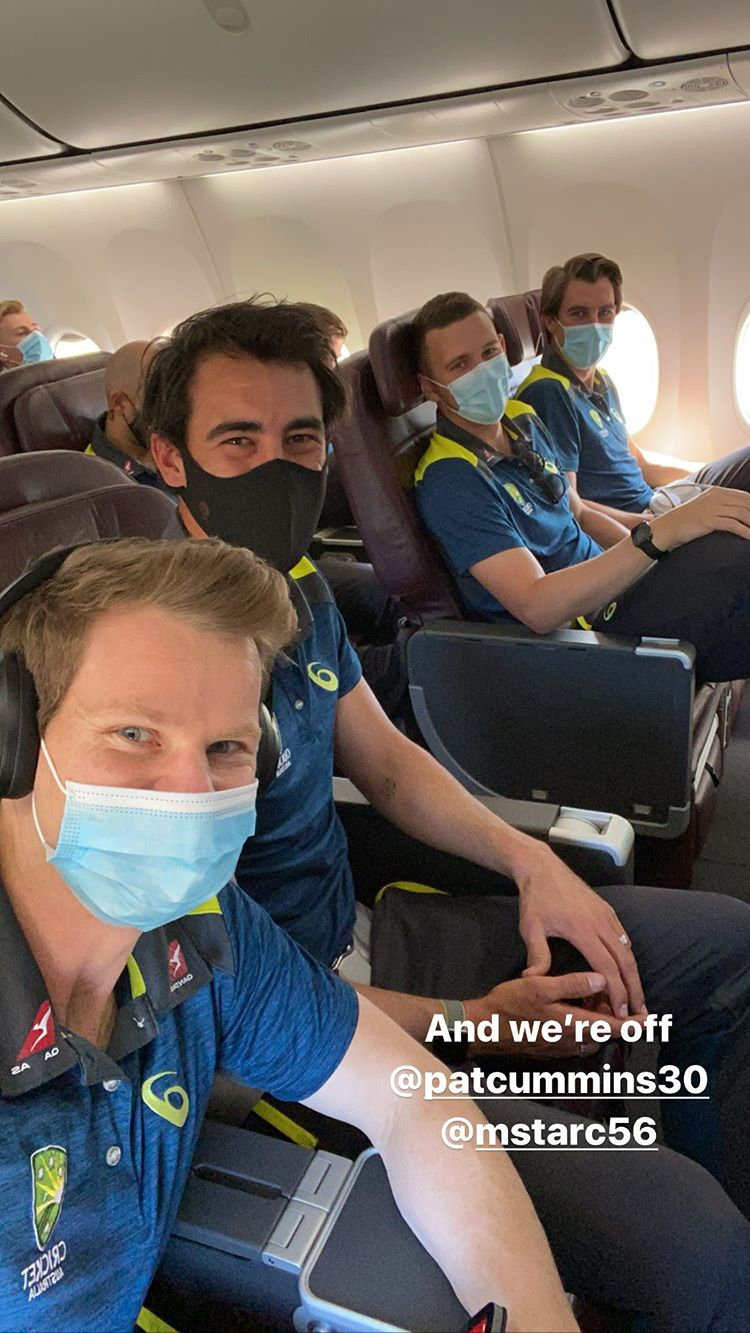 Flying high: the Aussies are en route to England // Instagram