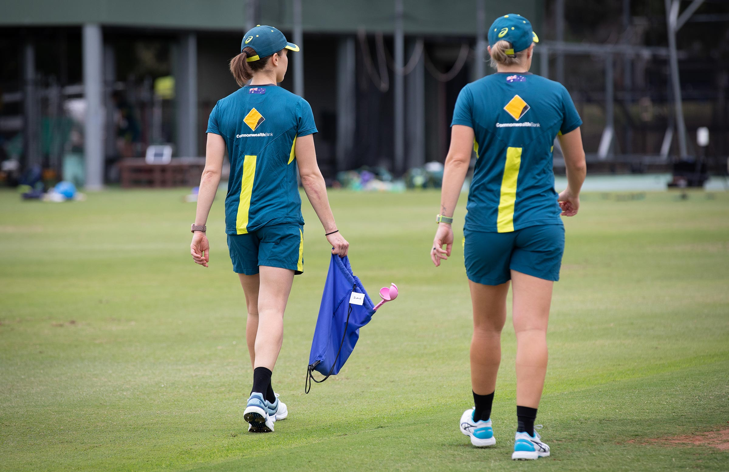 Erin Burns with her own personal kit bag at training // cricket.com.au