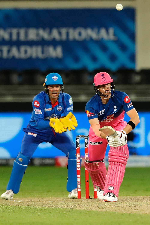Steve Smith pops a return catch // BCCI/IPL
