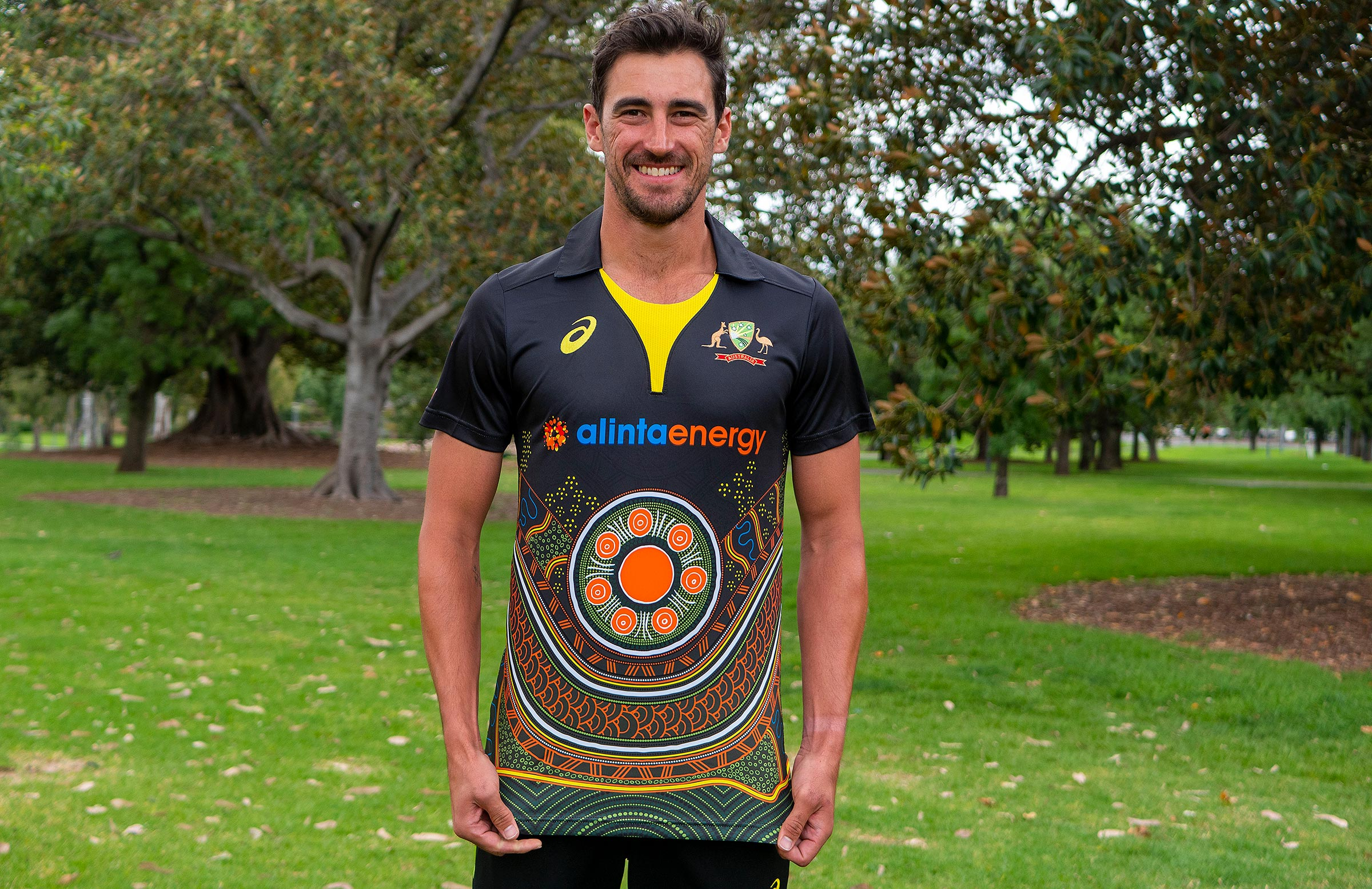 Starc shows off the new Indigenous shirt