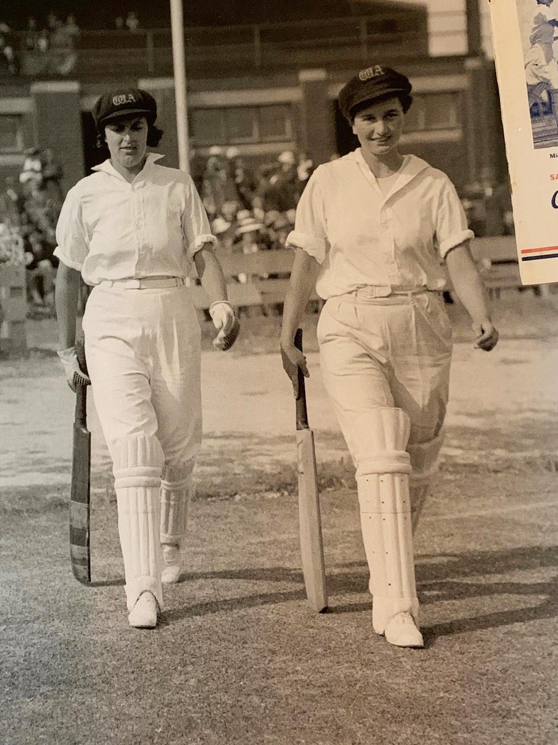 Edwards' aunts walk out to bat // Supplied