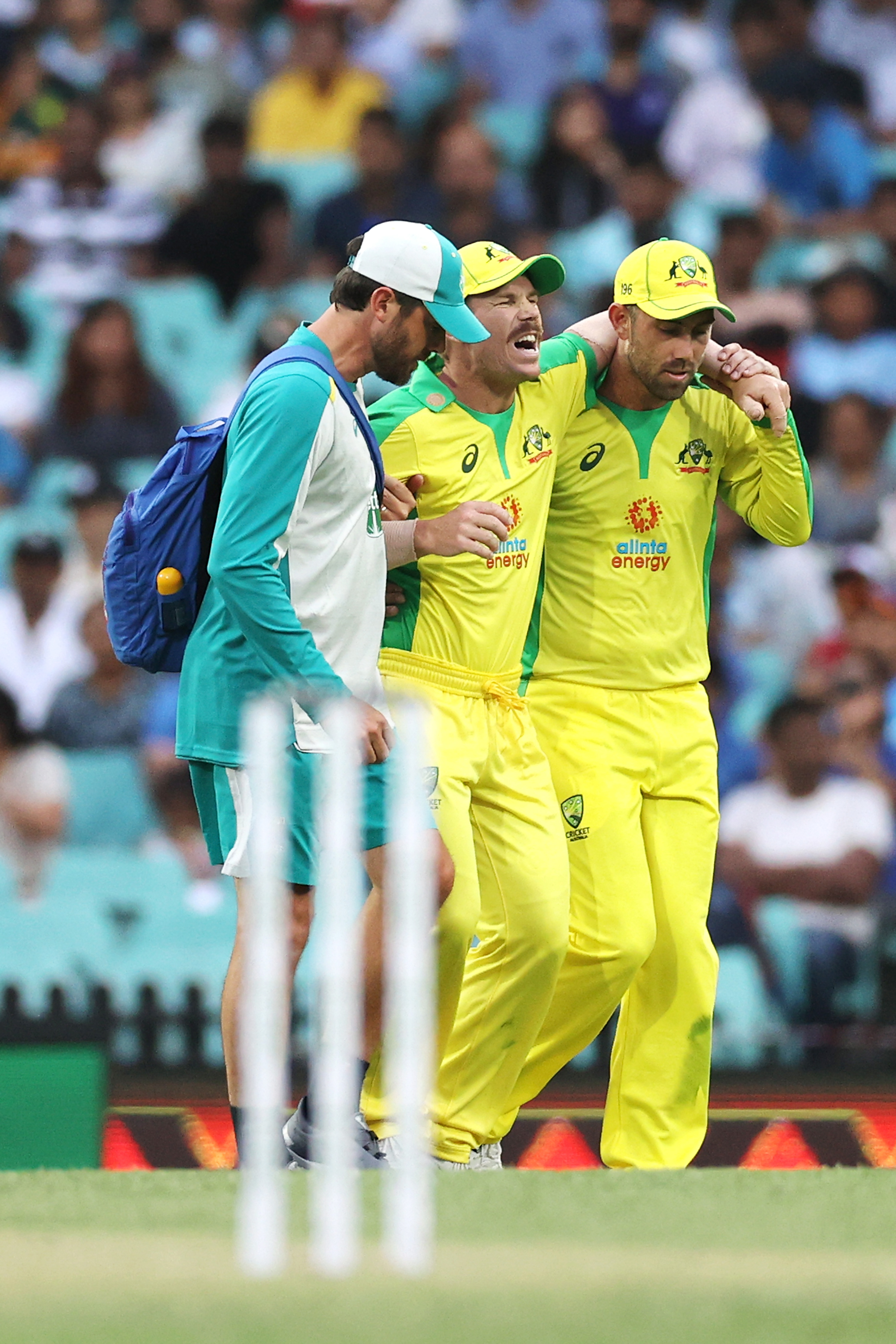 Warner is helped from the field by the physio and Glenn Maxwell // Getty