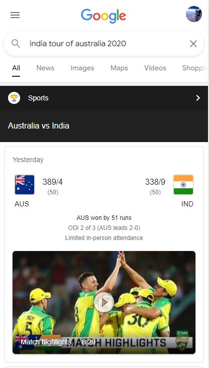 Users are presented with cricket.com.au highlights when searching via Google