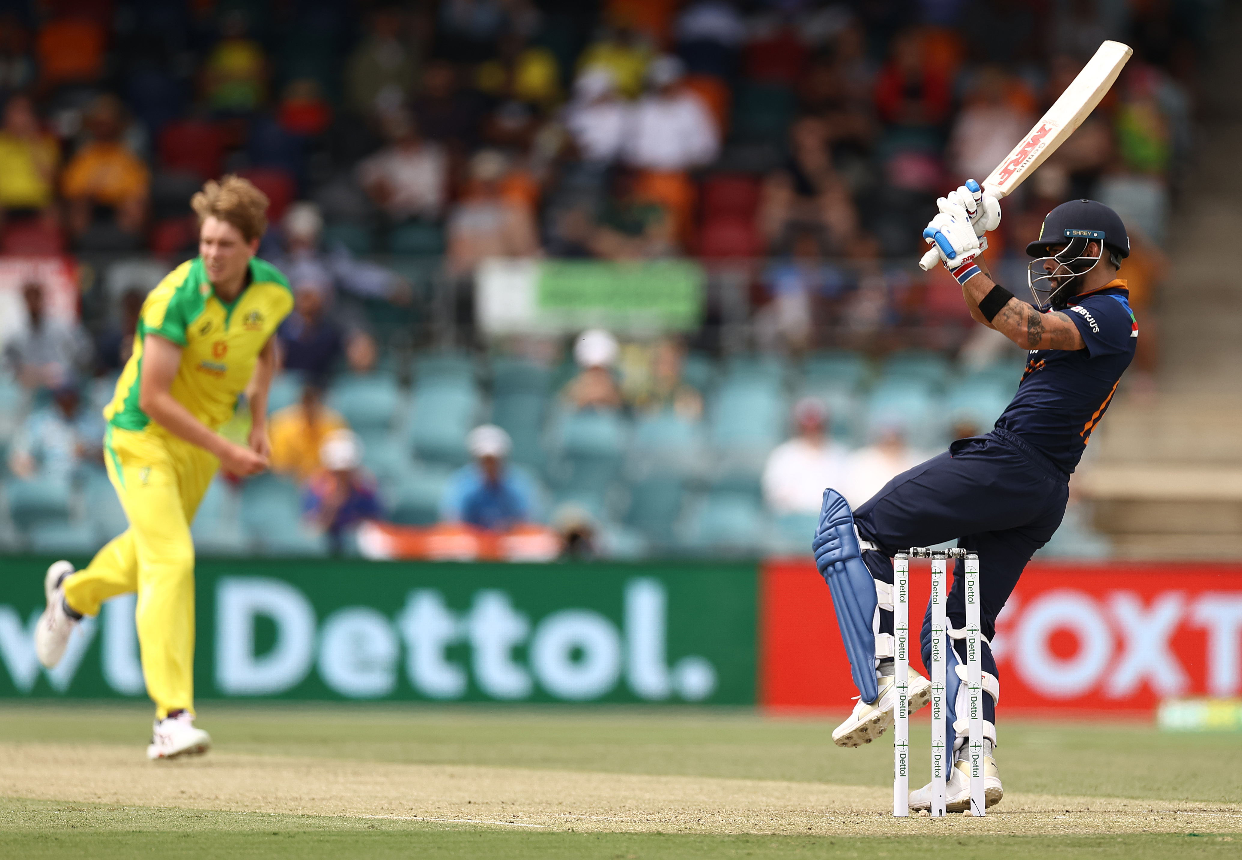 Welcome to international cricket! Kohli pulls Green for four // Getty