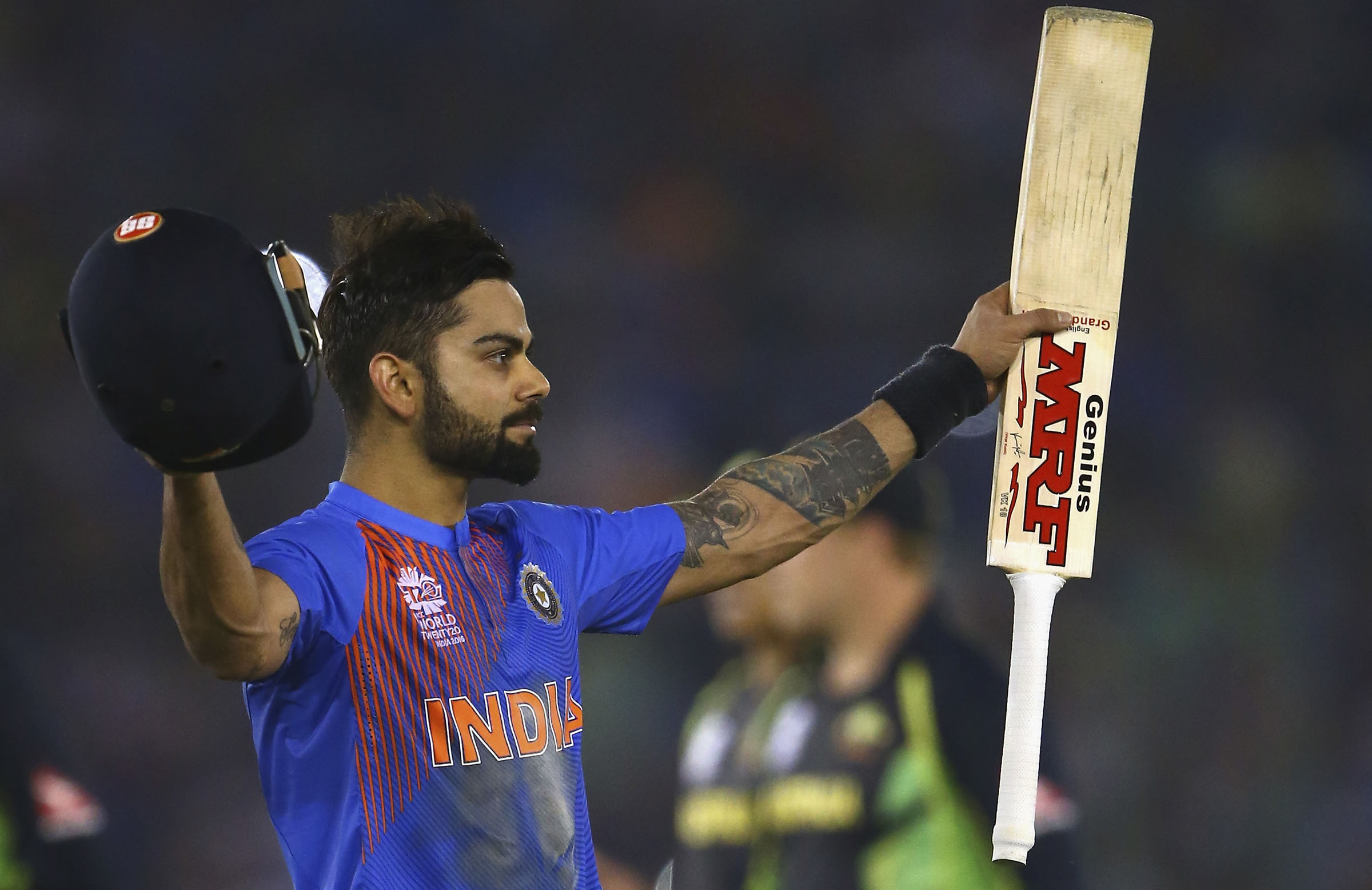 Virat Kohli hit a majestic 82 not out against Australia in the 2016 ICC World T20 // Getty