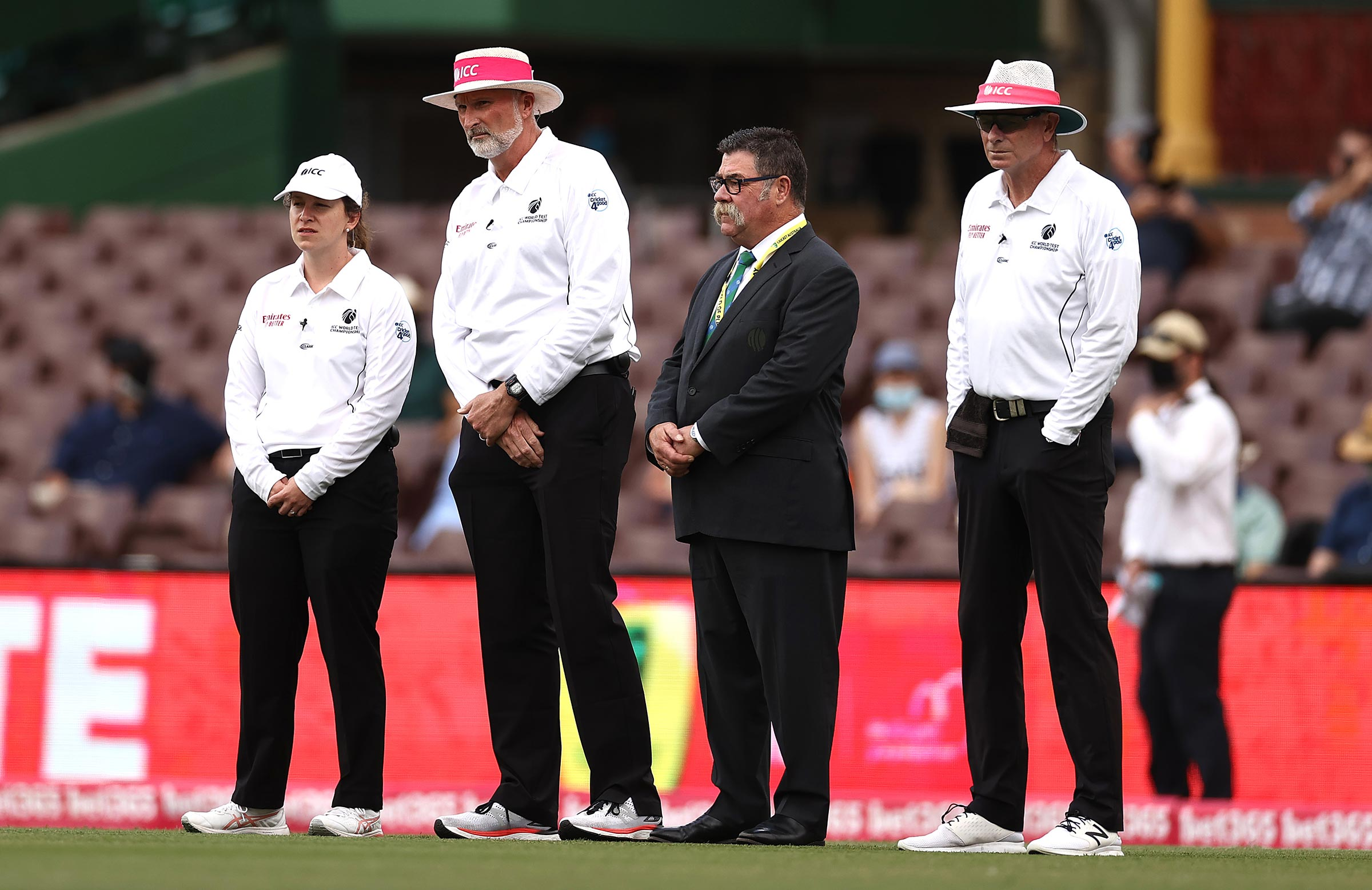 Polosak with Paul Wilson, David Boon and Paul Reiffel at the SCG // Getty