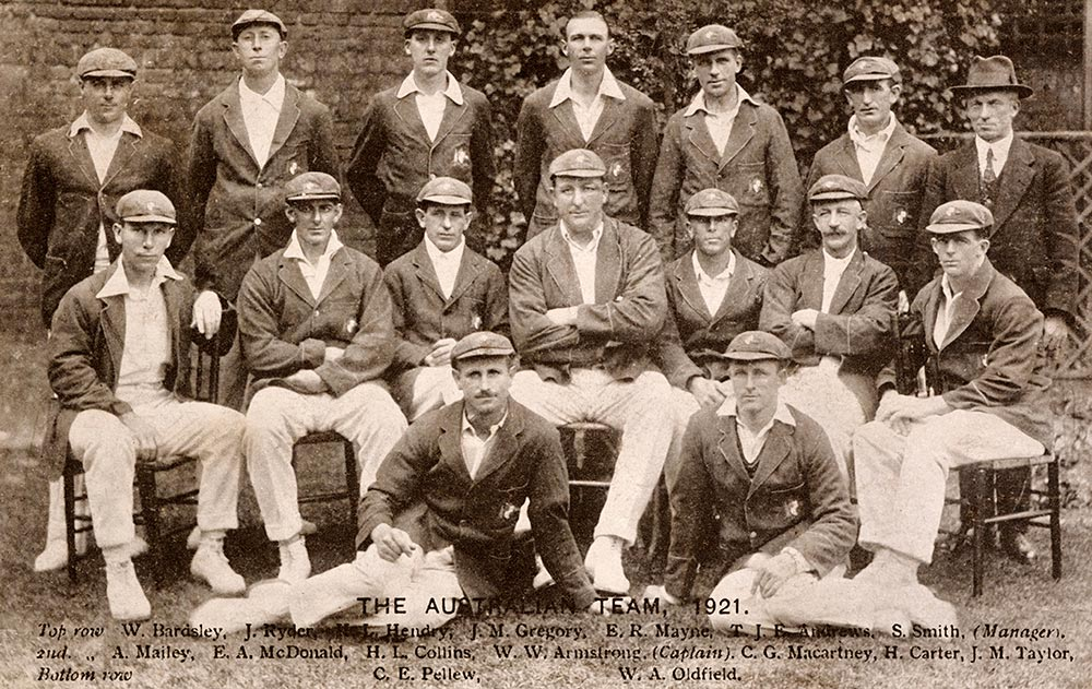 The 1921 Australia team. Mailey is seated far left // Getty