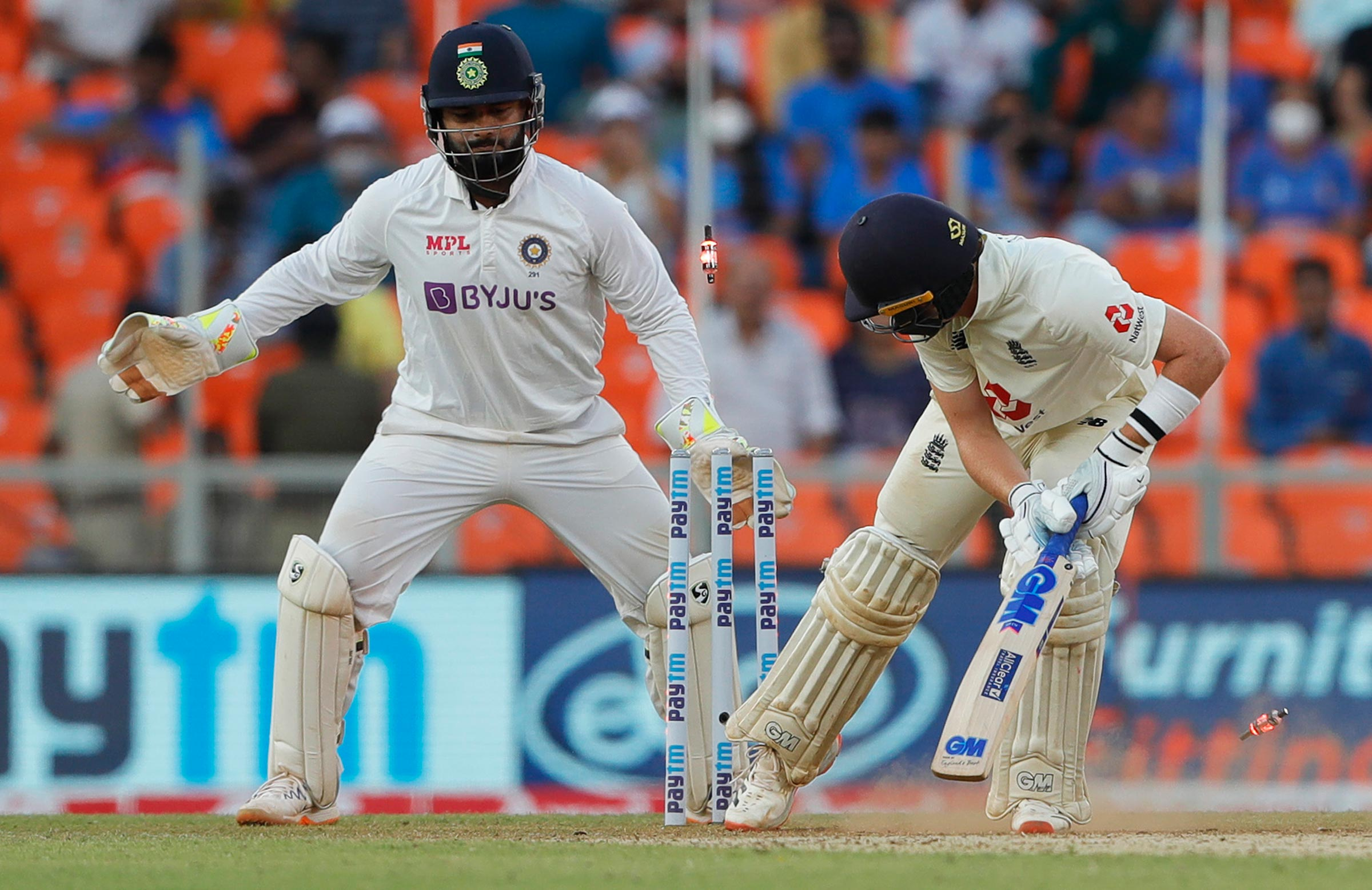 Ollie Pope is bowled by R Ashwin // BCCI-Sportzpics