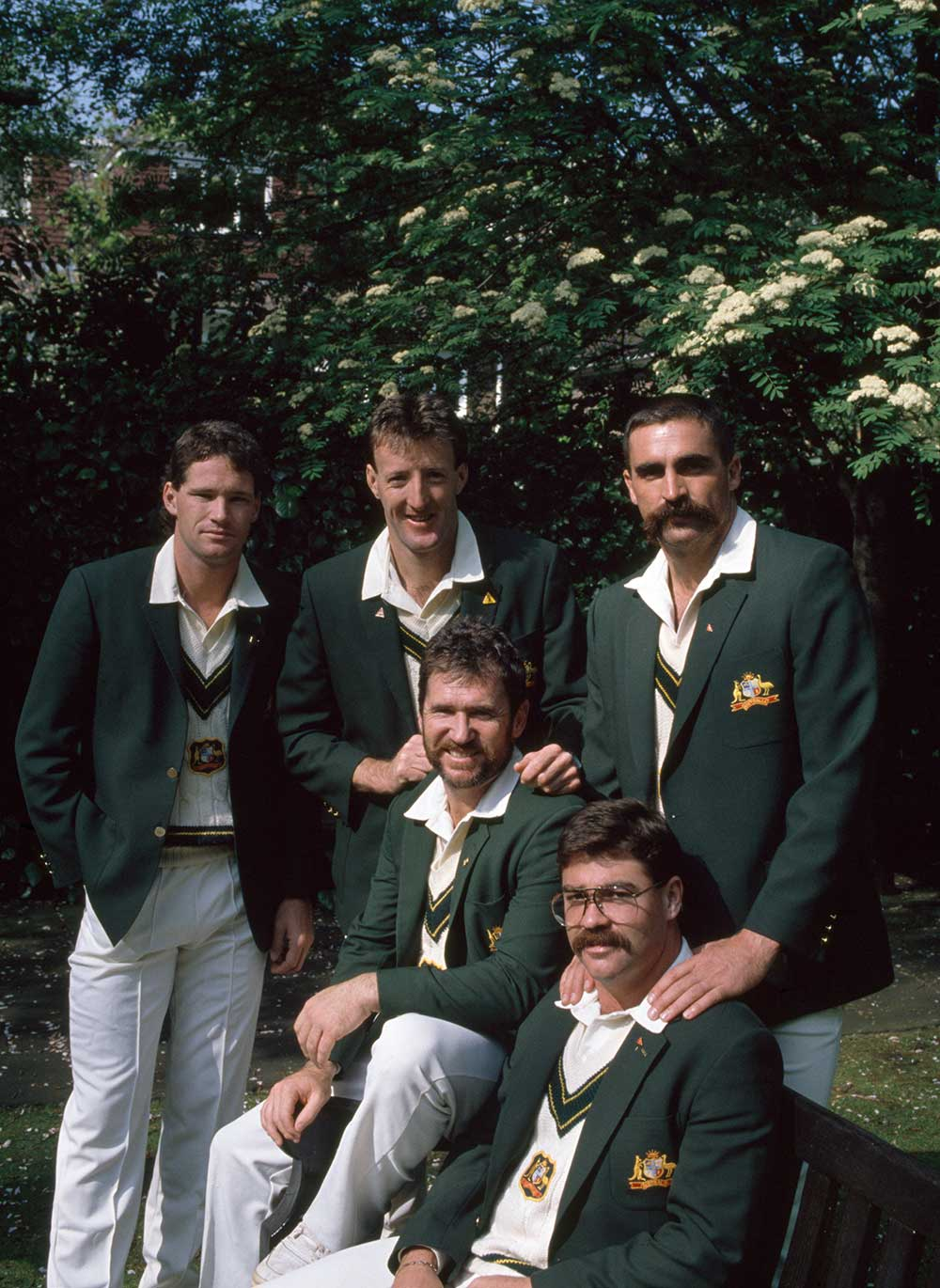 Jones, Lawson, Hughes, Border and Boon on the '89 Ashes tour // Getty