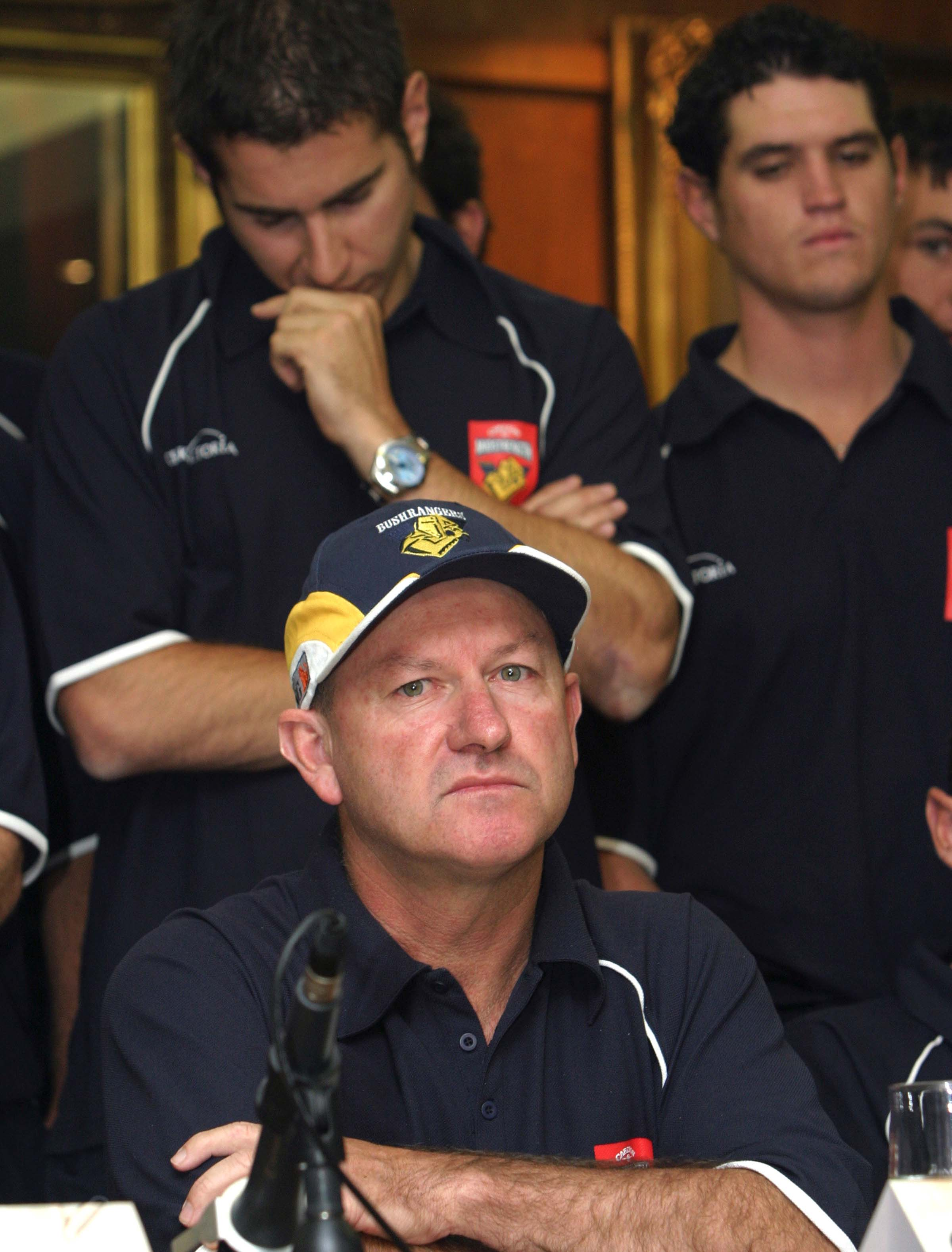 Shipperd and the Vics players speak with media three days after Hookes' death // Getty