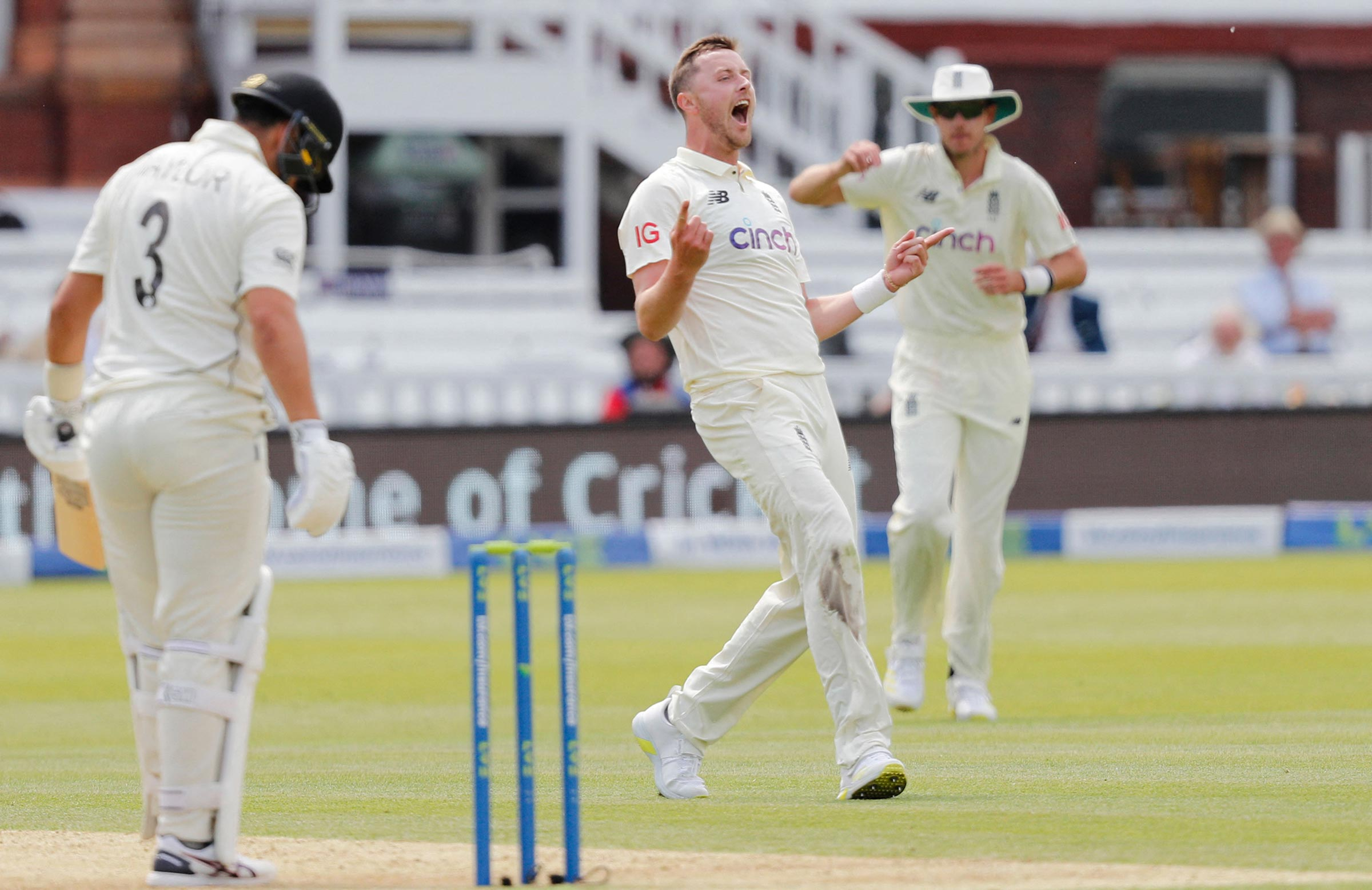 Robinson celebrates the wicket of Ross Taylor on day one // Getty