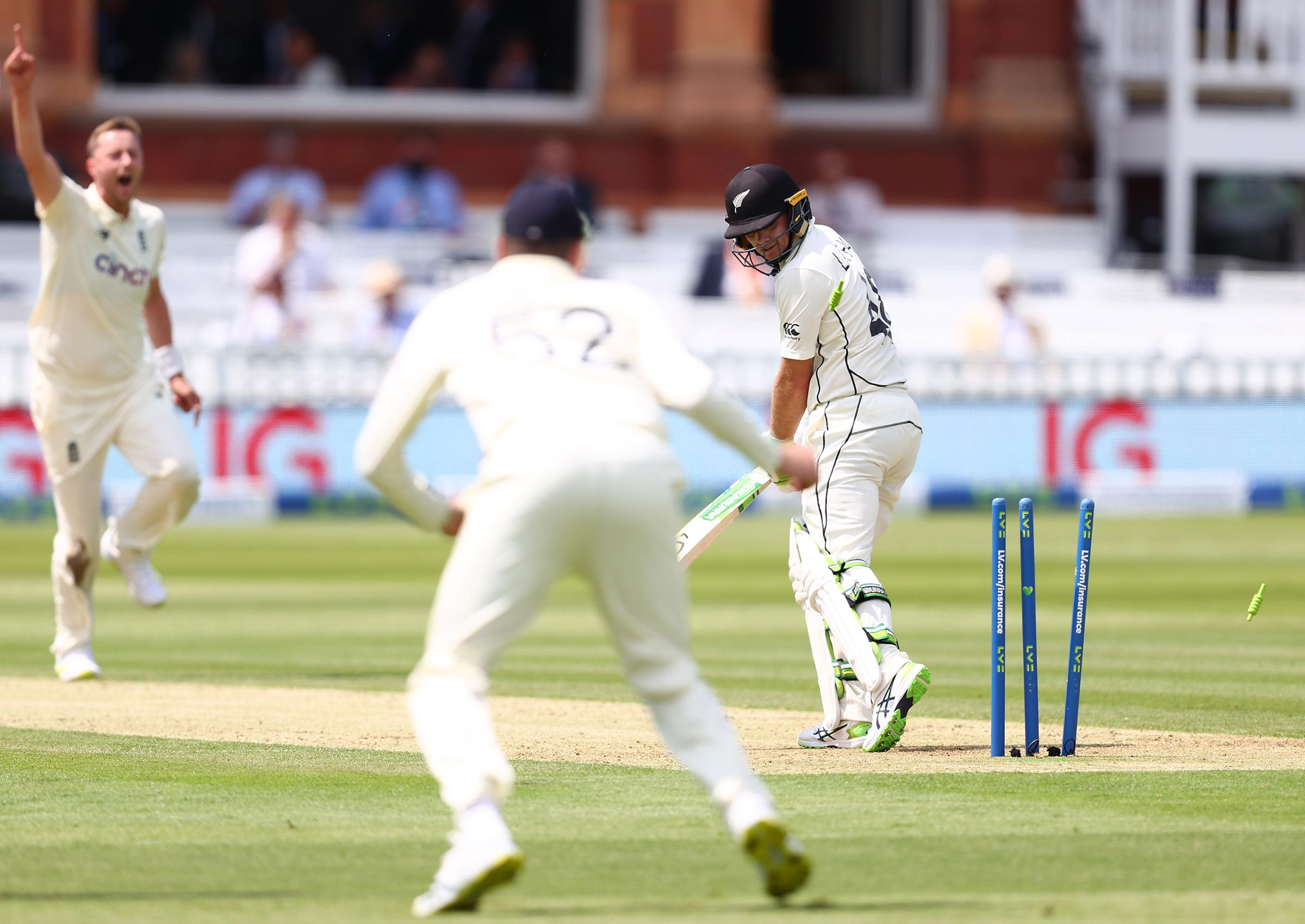 Robinson picks up his first Test wicket // Getty