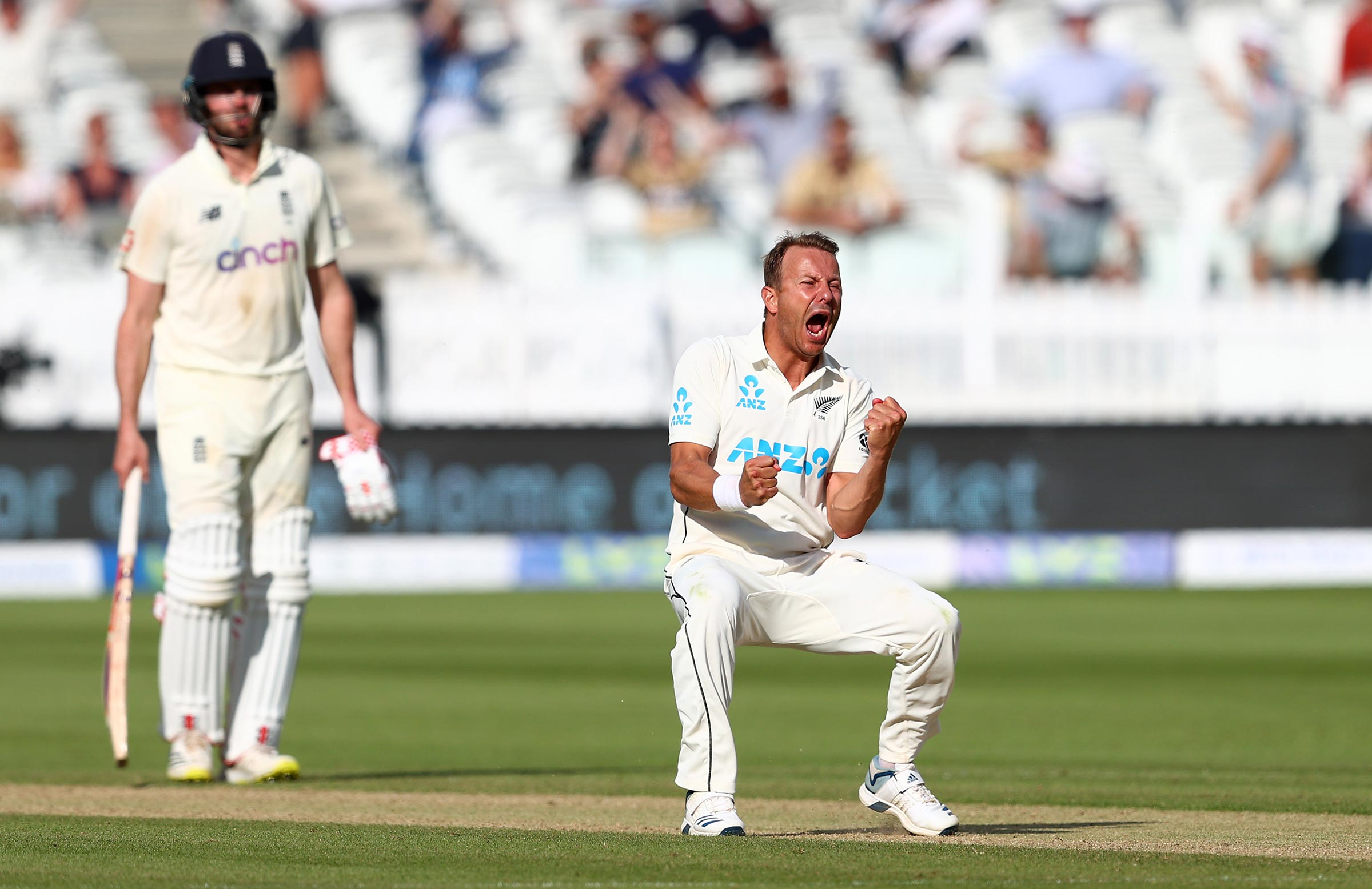 Wagner celebrates one of his two wickets on day five // Getty