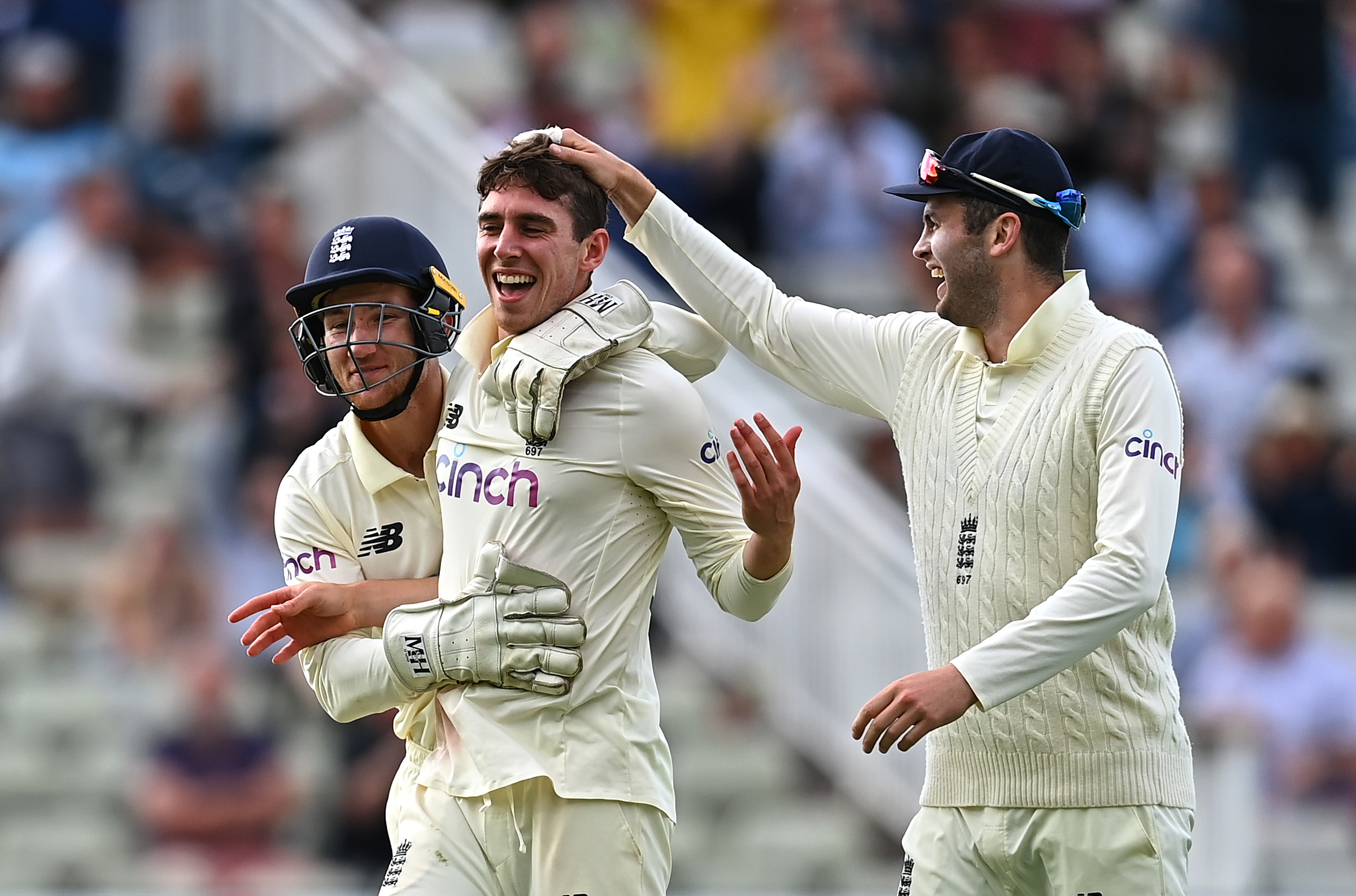 Dan Lawrence removed Will Young off the final ball of the day for his first Test wicket // Getty