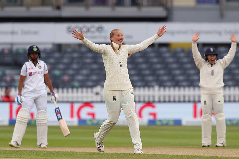 Sophie Ecclestone celebrates an lbw against Harmanpreet Kaur // Getty