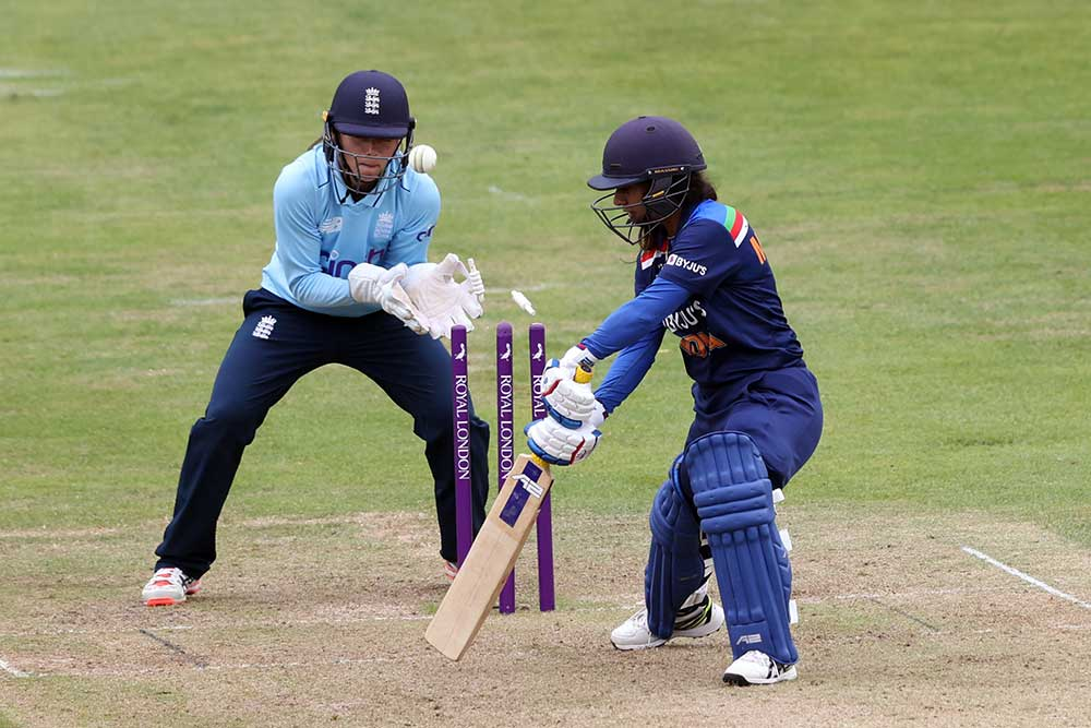 Mithali Raj hit 72 from 108 before being bowled by Sophie Ecclestone // Getty