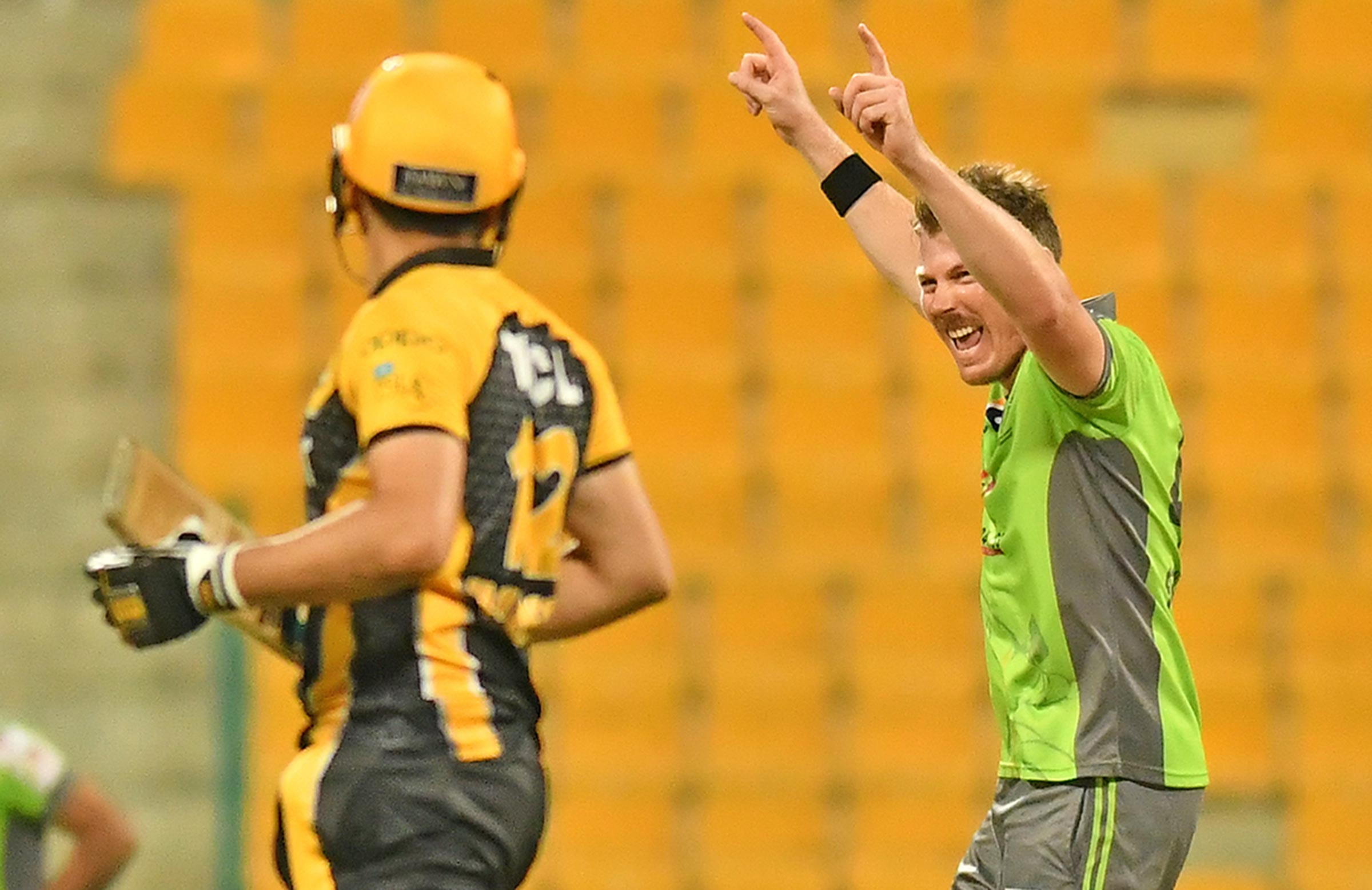 Faulkner celebrates a wicket in the PSL // PCB