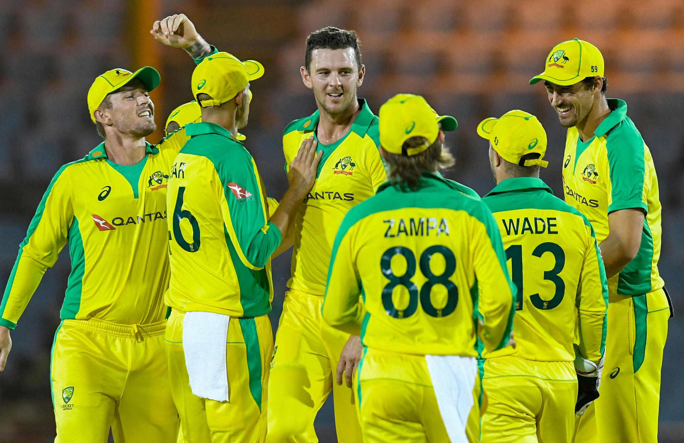 Hazlewood picked up 3-12 from four overs // Getty