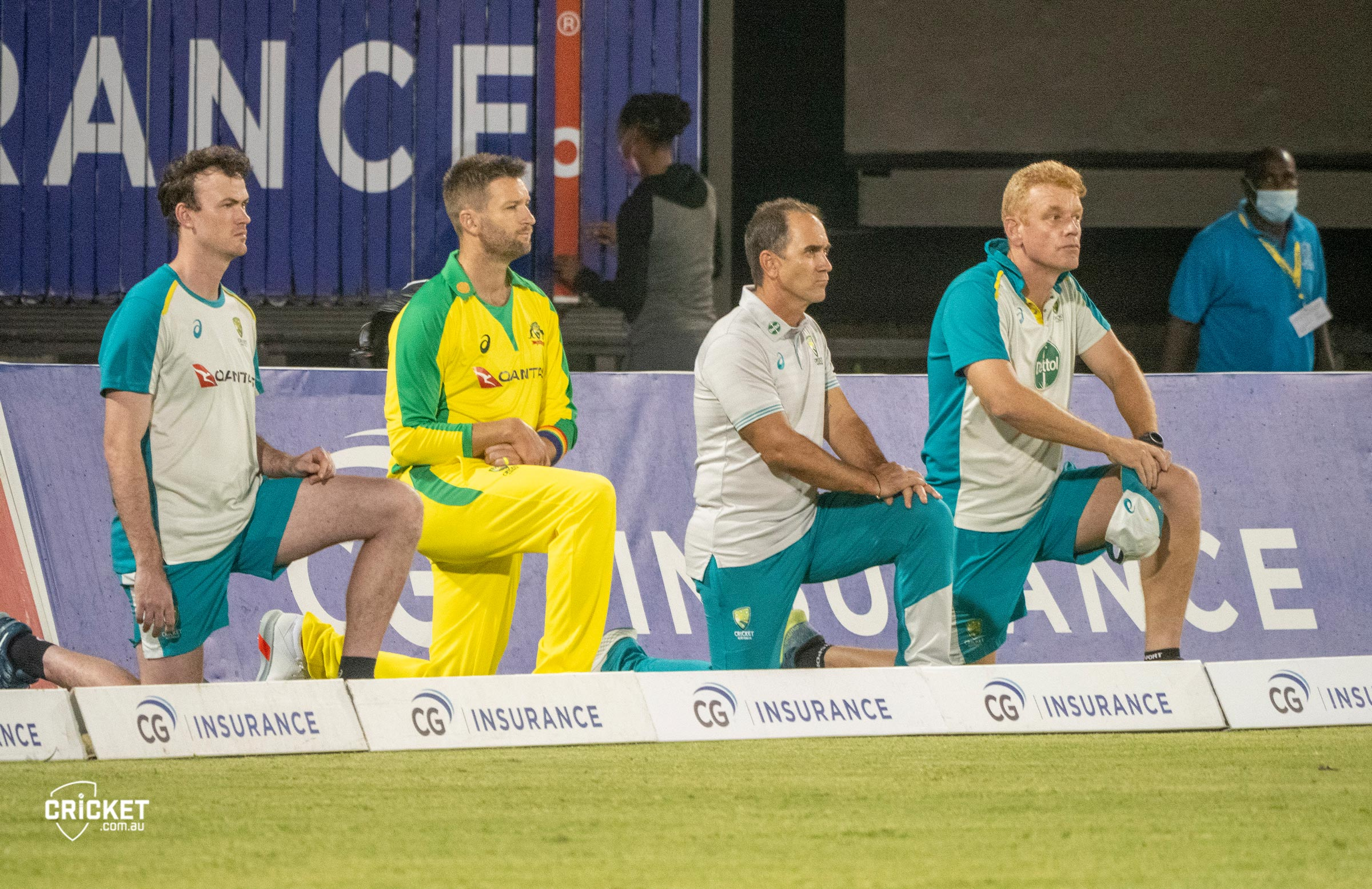The entire Australian touring party took a knee in St Lucia // cricket.com.au