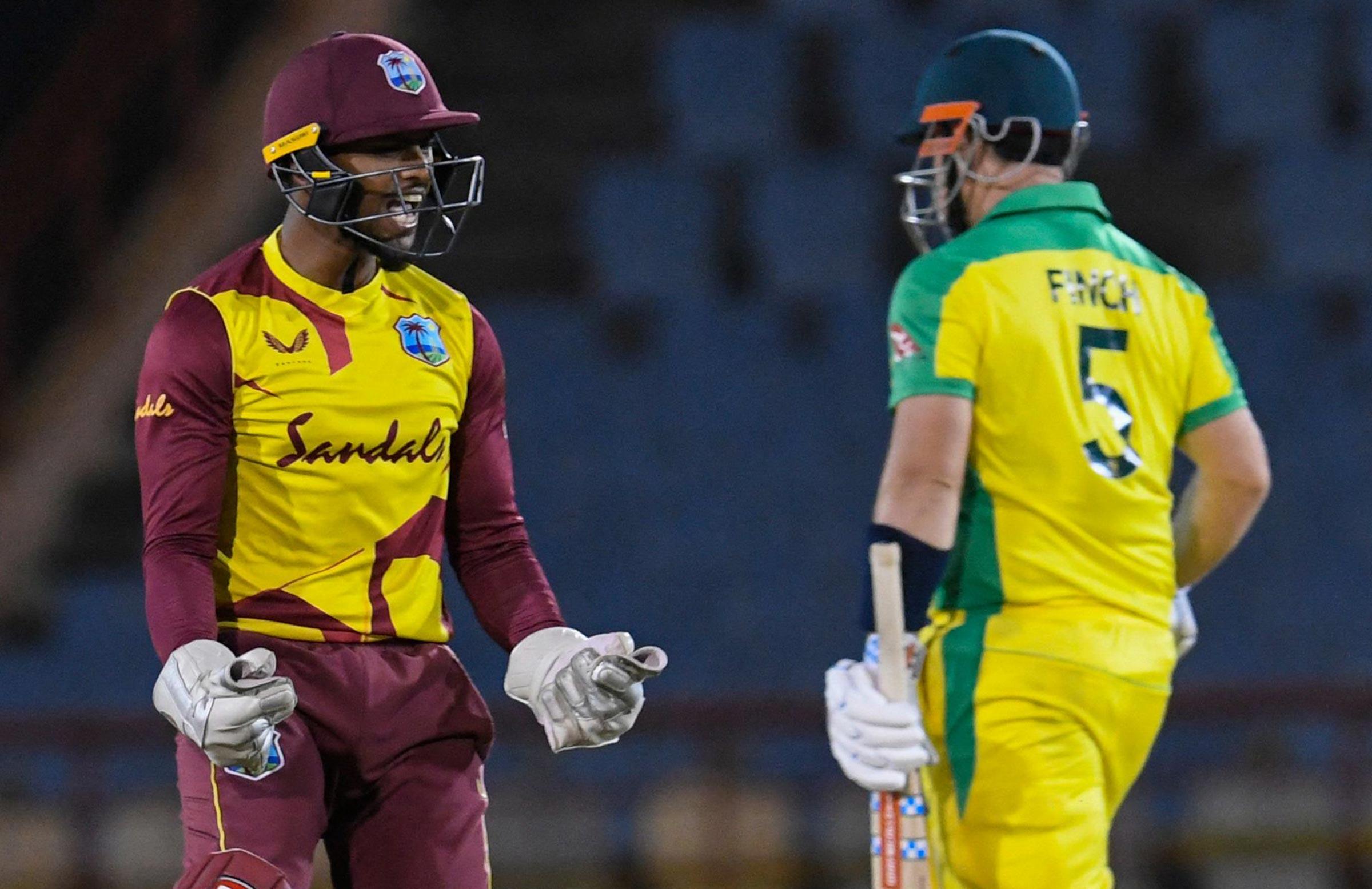Stand-in skipper Nicholas Pooran celebrates the wicket of Finch // Getty