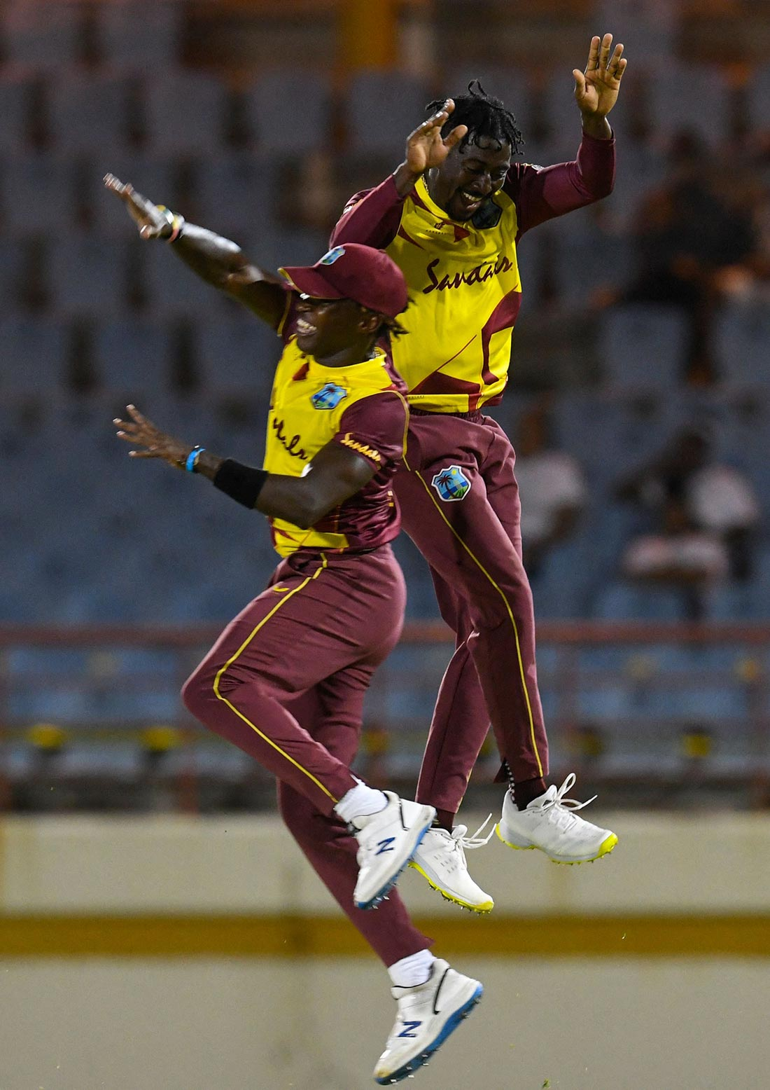 The Windies celebrate during Australia's collapse // Getty